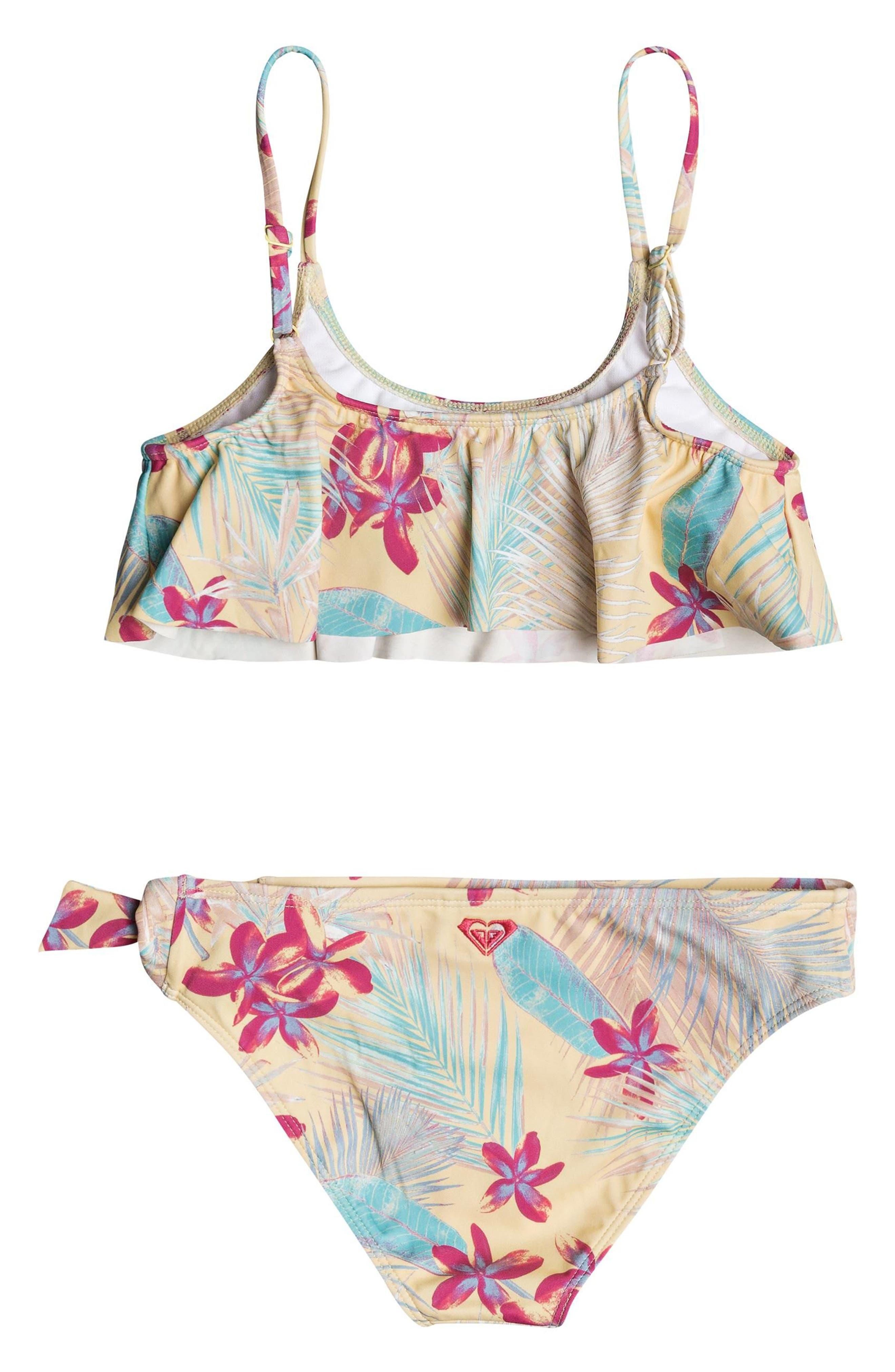 Salt Memory Flutter Two-Piece Swimsuit,                             Alternate thumbnail 2, color,                             Sunshine Tiare Flower