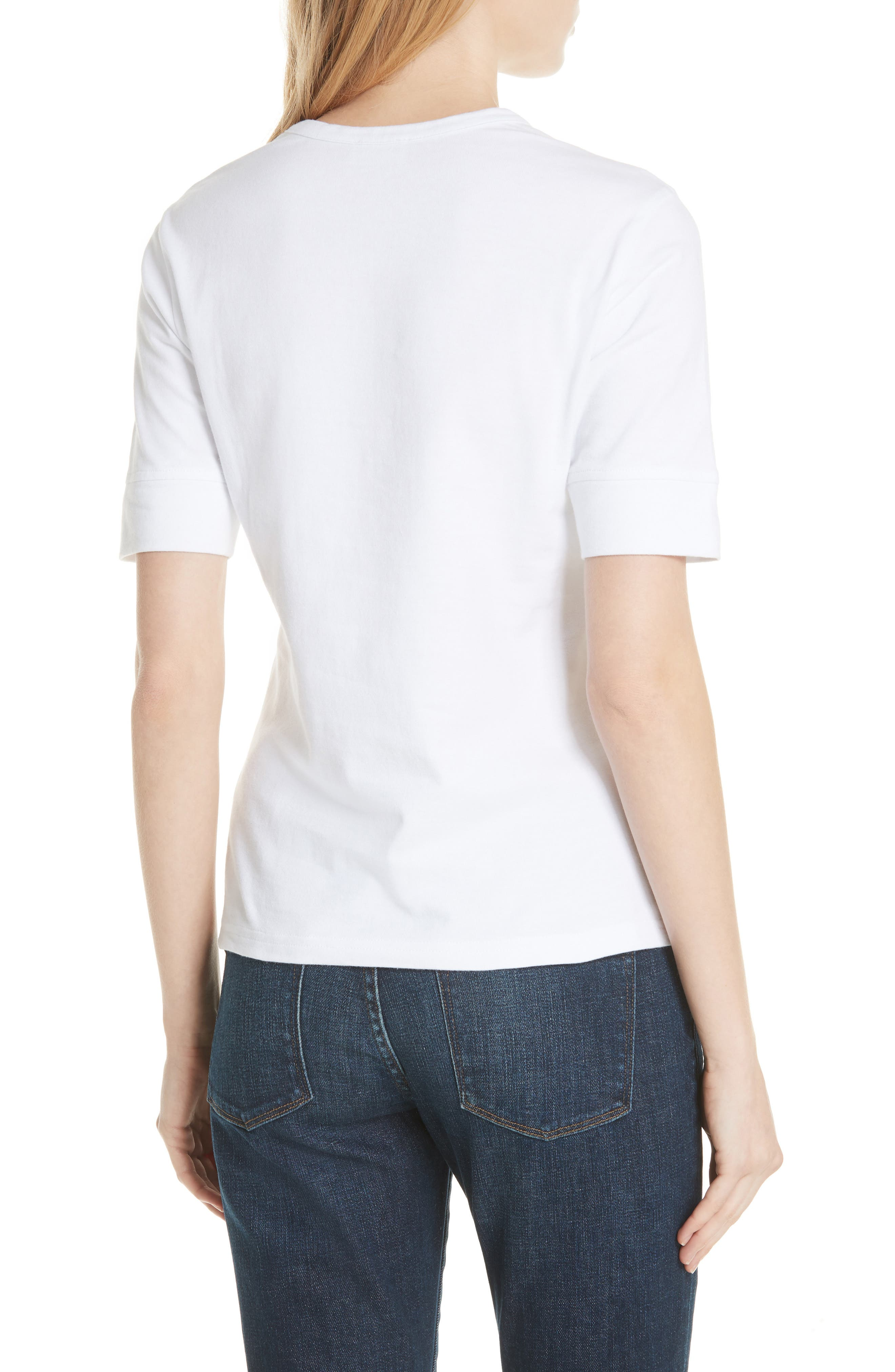 Los Angeles Embroidered True Crew Tee,                             Alternate thumbnail 2, color,                             Blanc