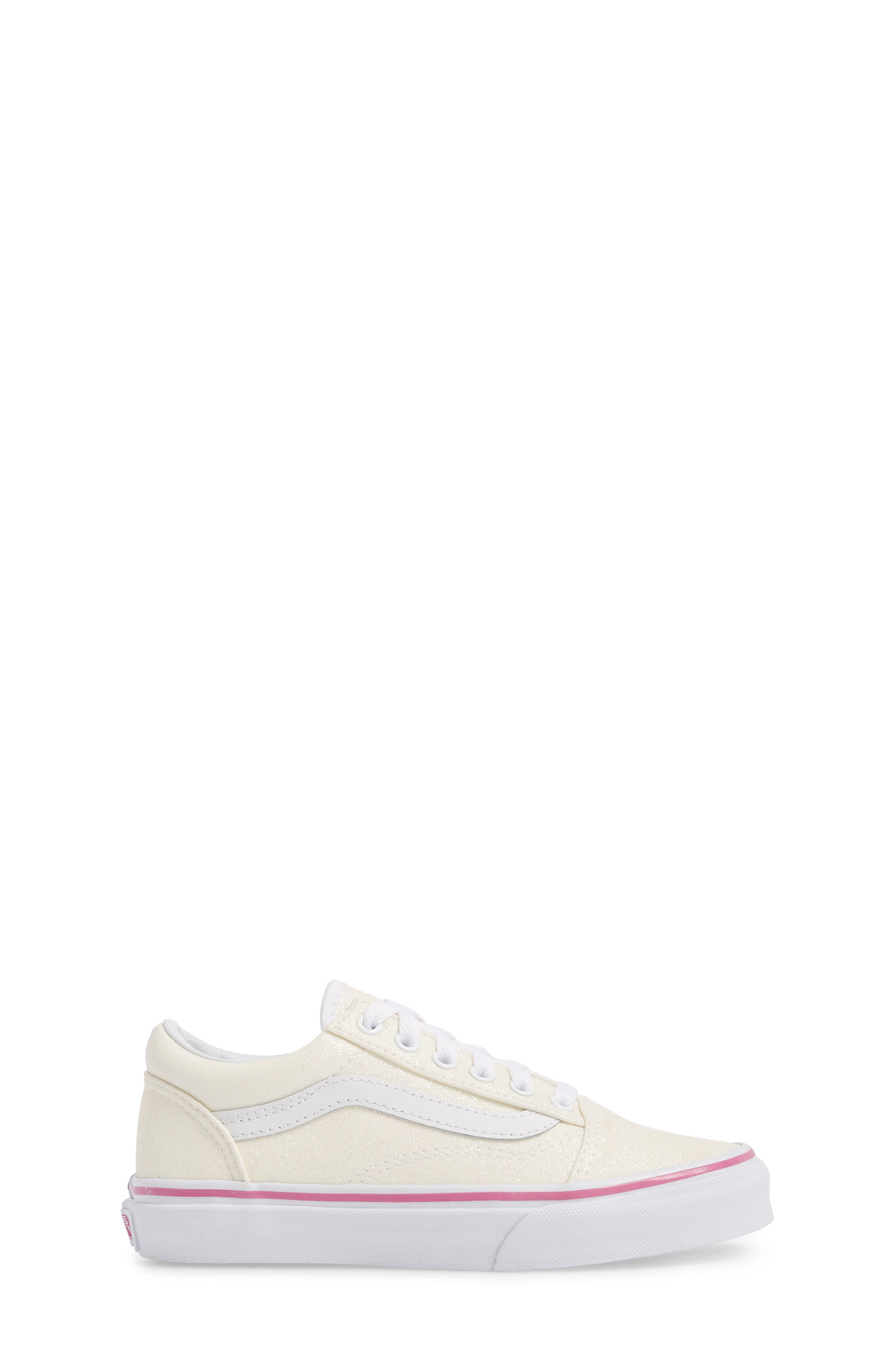 Old Skool Sneaker,                             Alternate thumbnail 3, color,                             Rainbow White Glitter