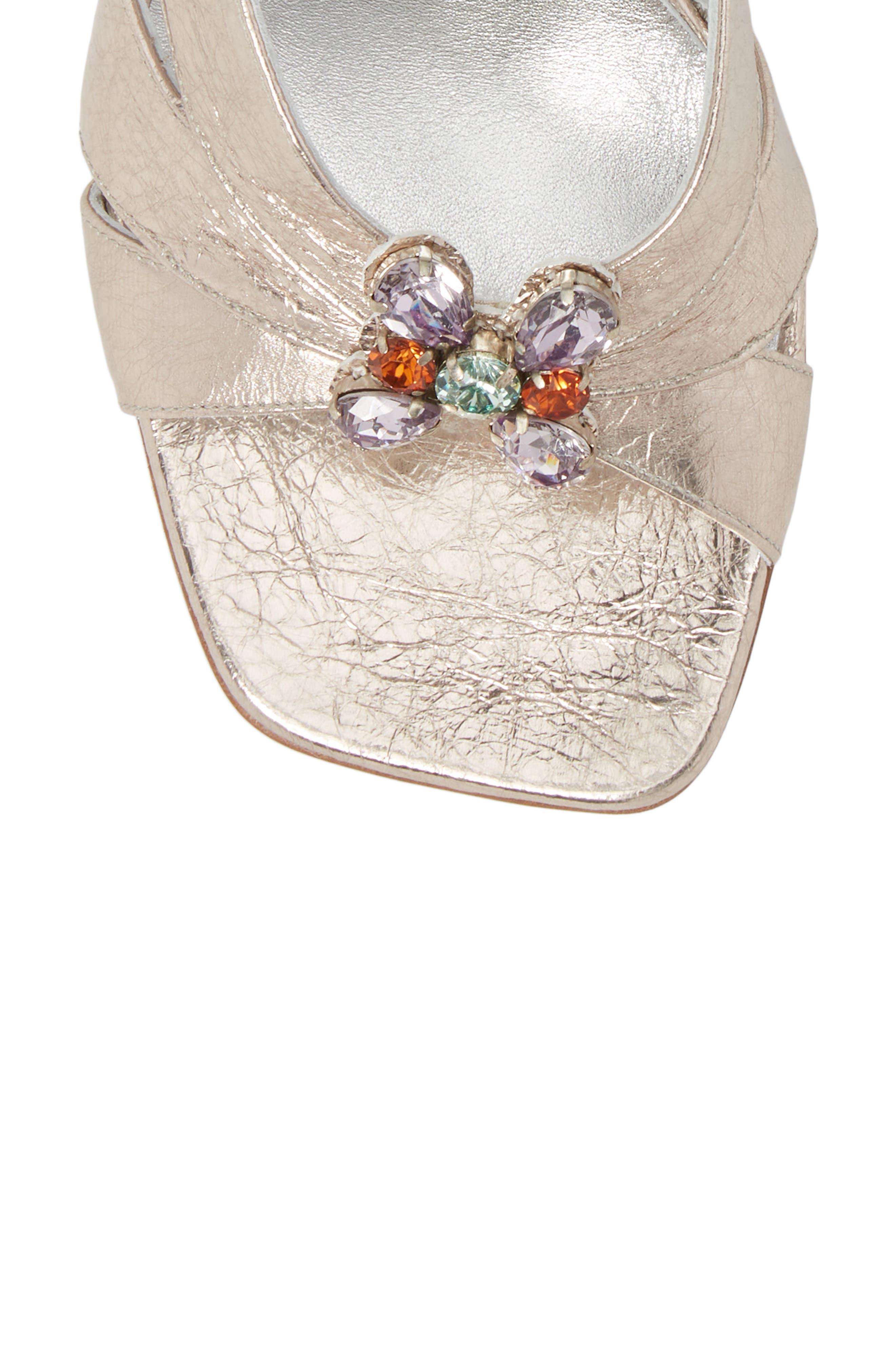 Metallic Brooch Sandal,                             Alternate thumbnail 5, color,                             Silver