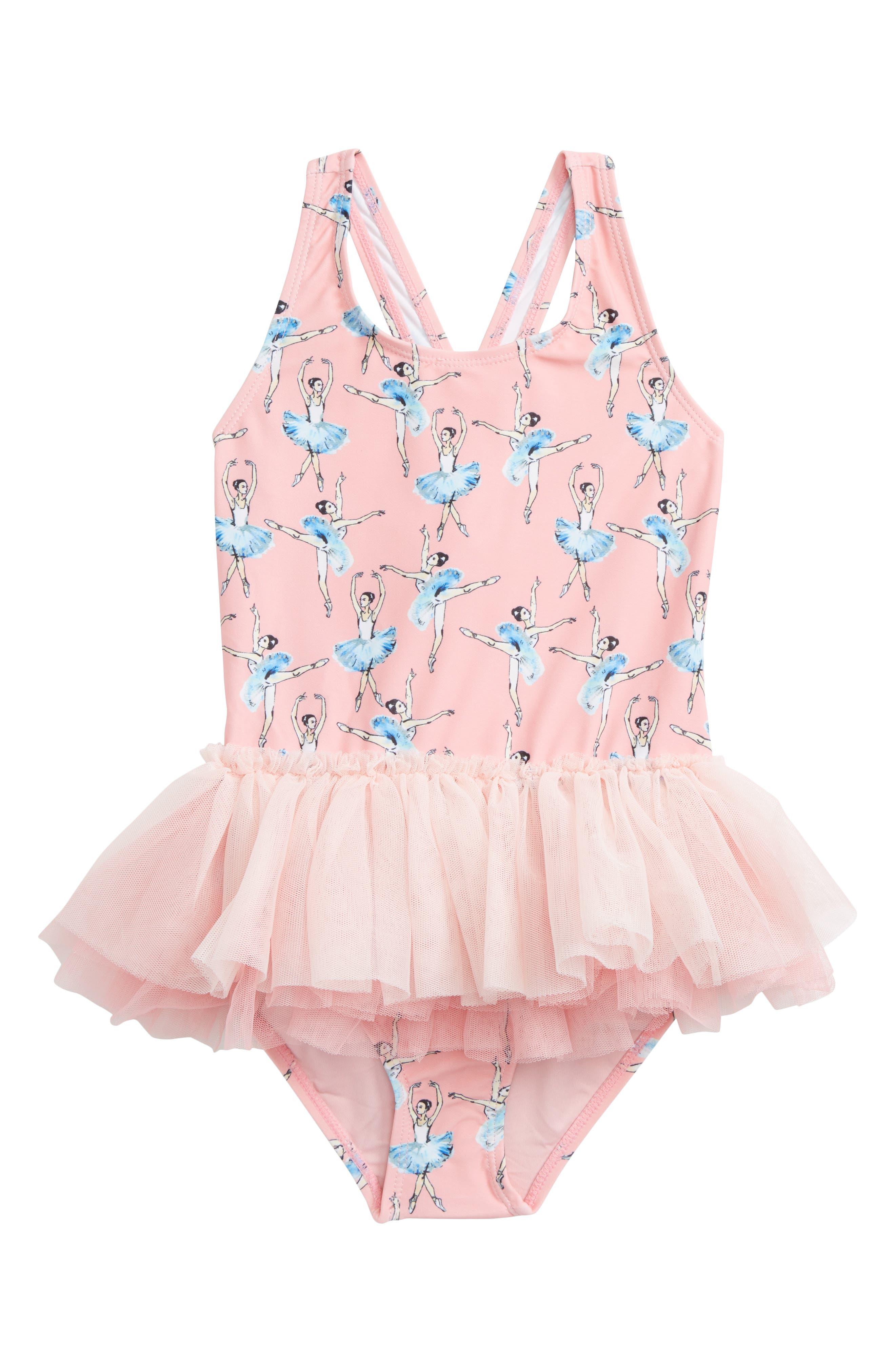 Main Image - Rock Your Kid Basque Ballerinas One-Piece Swimsuit (Toddler Girls & Little Girls)