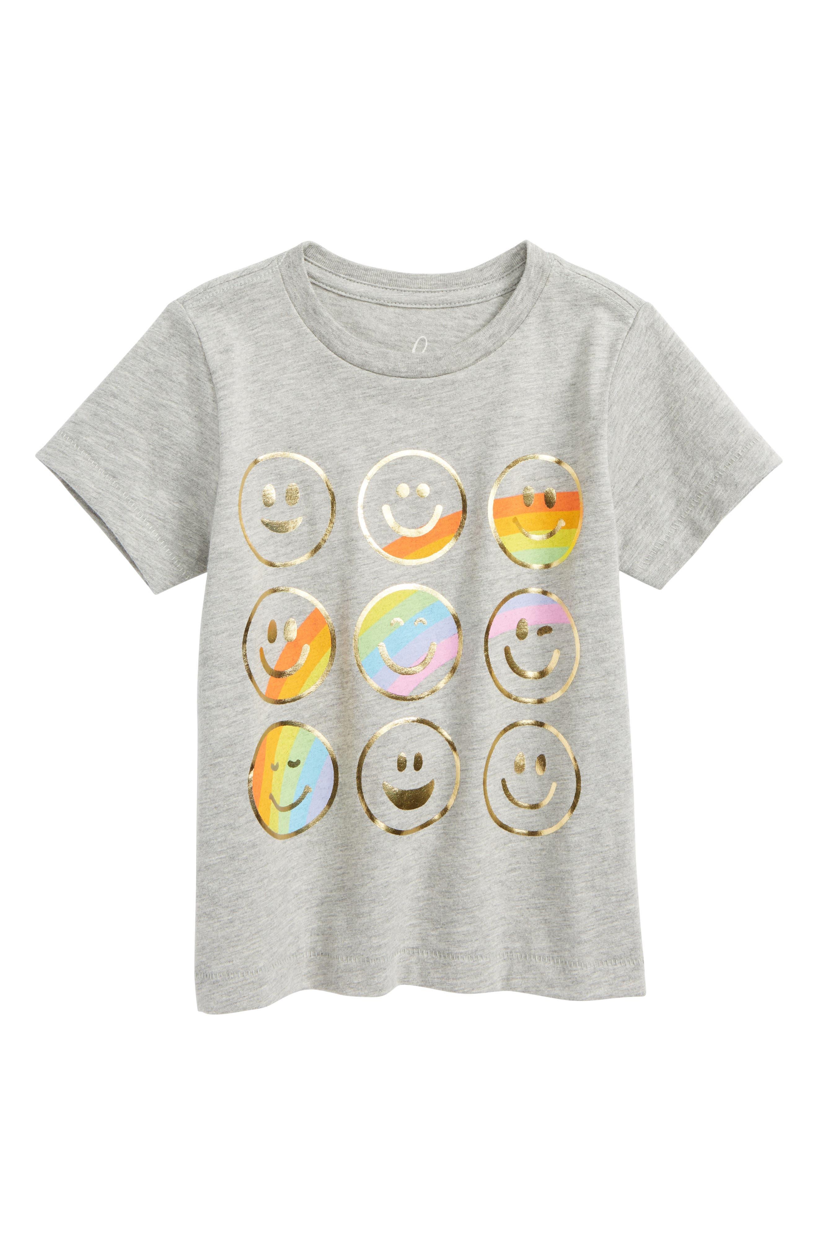 Emoticon Graphic Tee,                         Main,                         color, Light Grey Heather