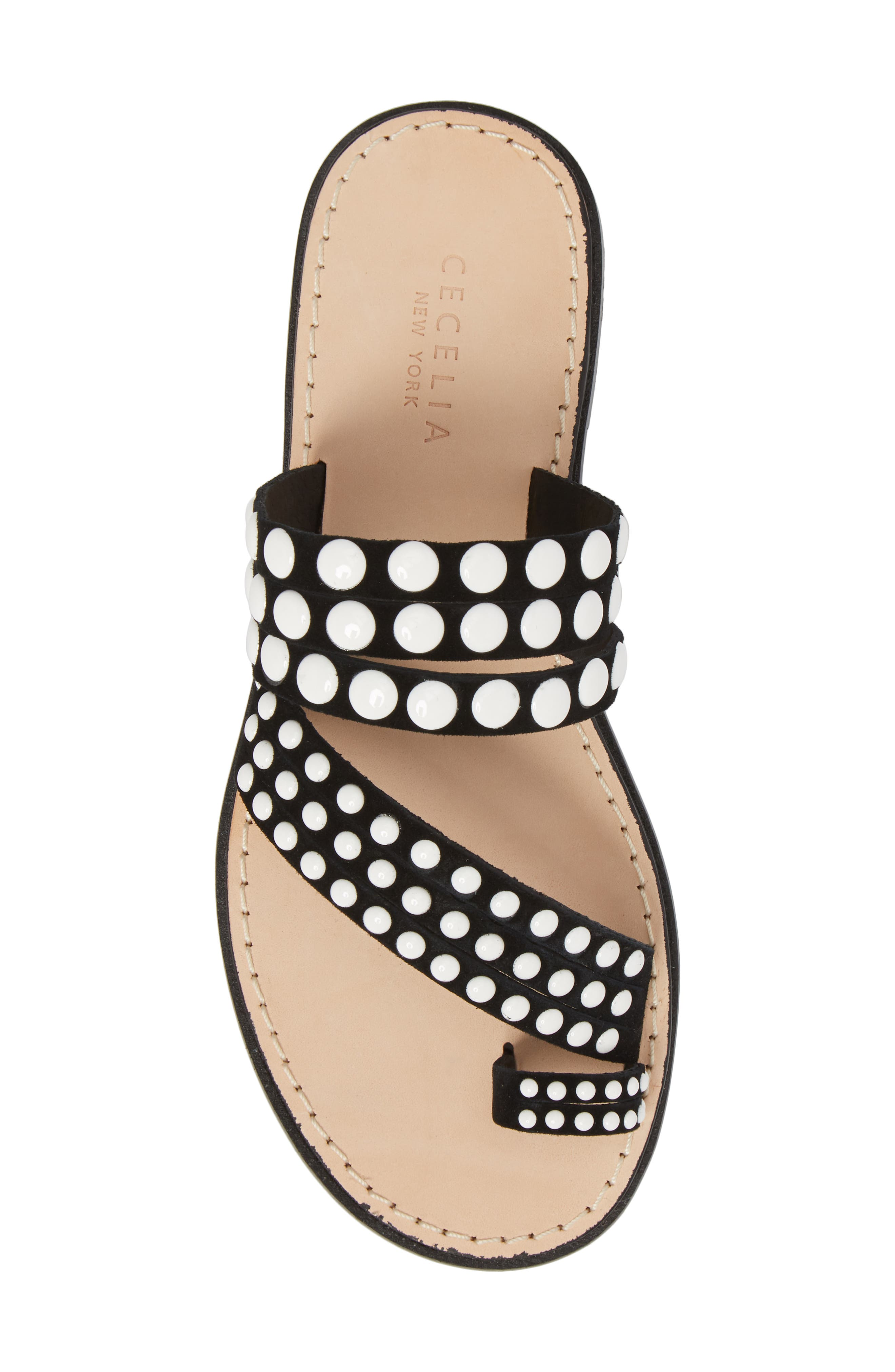 Pezz Studded Sandal,                             Alternate thumbnail 5, color,                             Black Suede