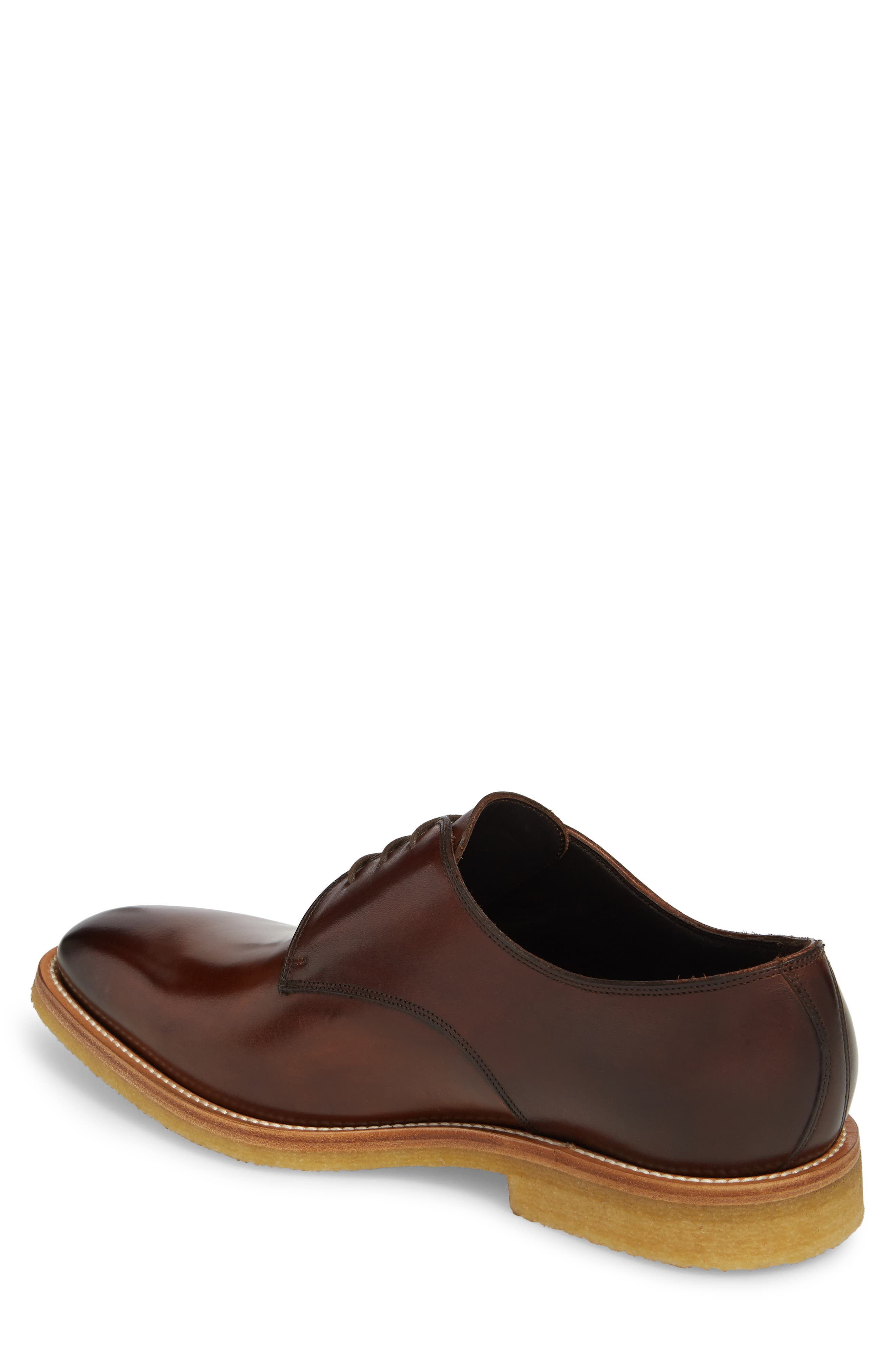 Caruso Plain Toe Derby,                             Alternate thumbnail 2, color,                             Chestnut Leather