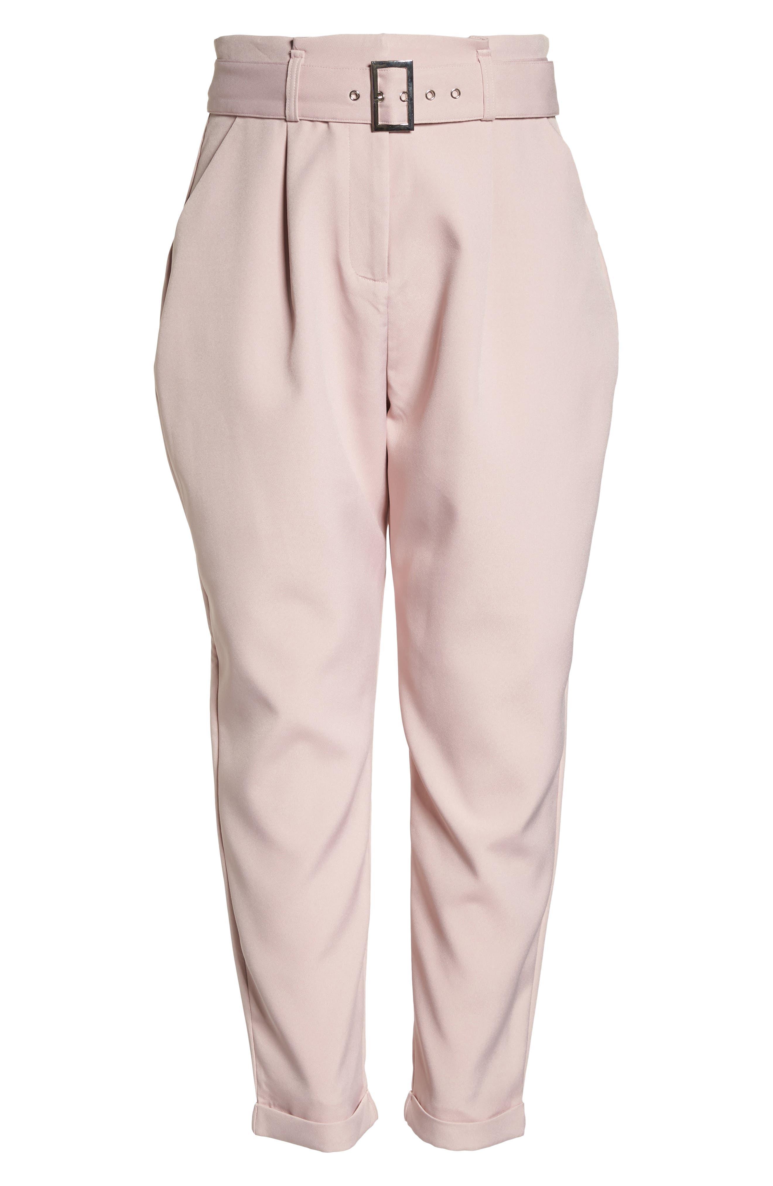 Belted Peg Trousers,                             Alternate thumbnail 7, color,                             Blush