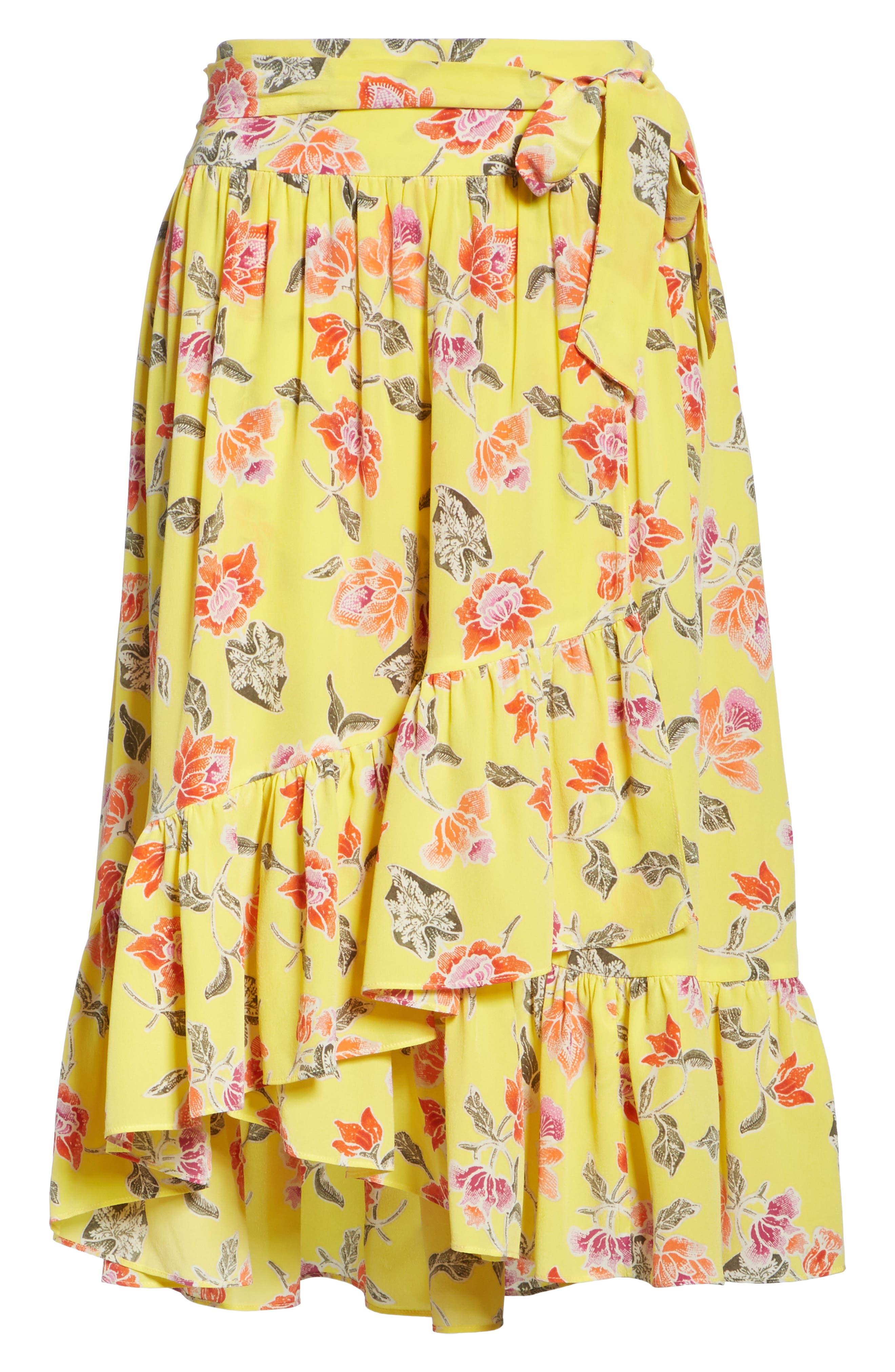 Denisha Floral Ruffle Silk Skirt,                             Alternate thumbnail 6, color,                             Pineapple