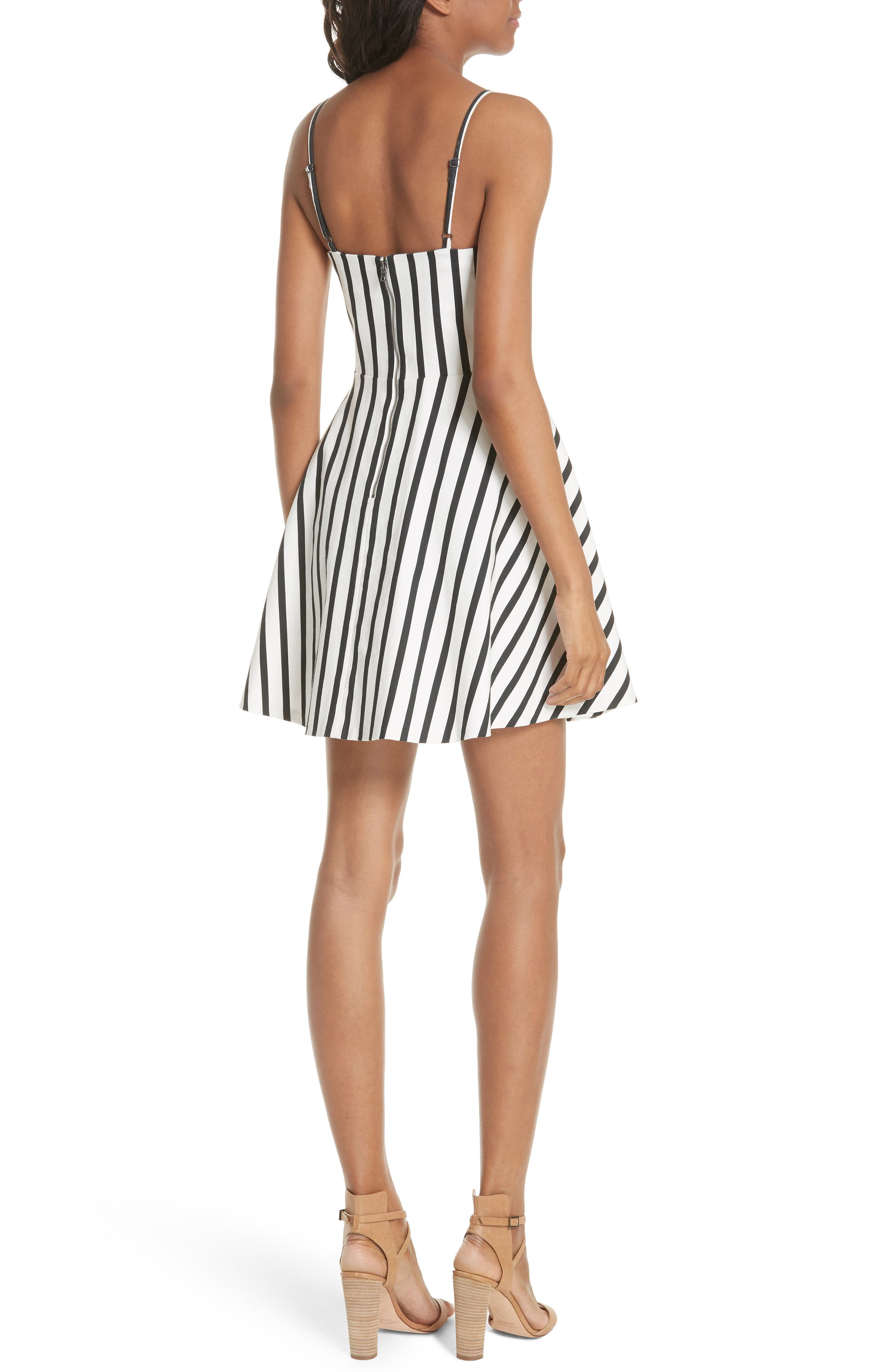 Nella Button Front Stripe Dress,                             Alternate thumbnail 2, color,                             Monochrome Stripe