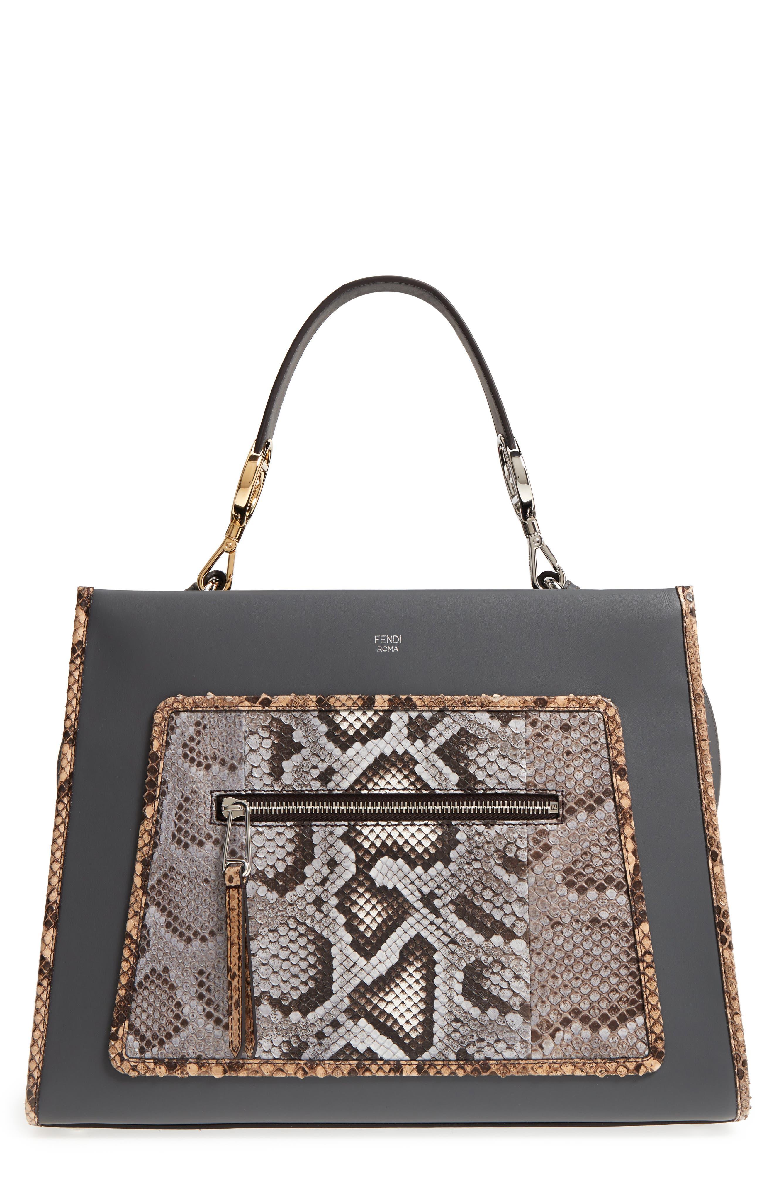 Fendi Runaway Leather & Genuine Python Tote
