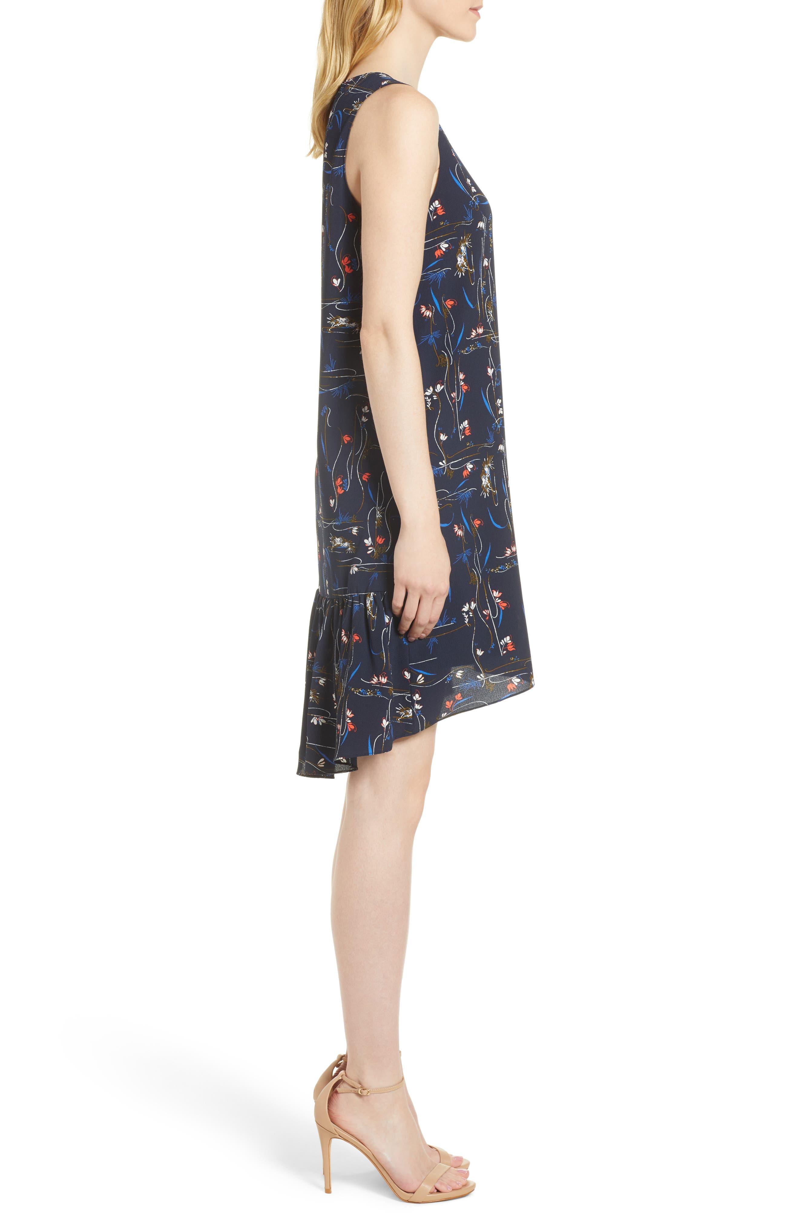 Zipper Back Ruffle Dress,                             Alternate thumbnail 3, color,                             Navy Iris Garden Flow