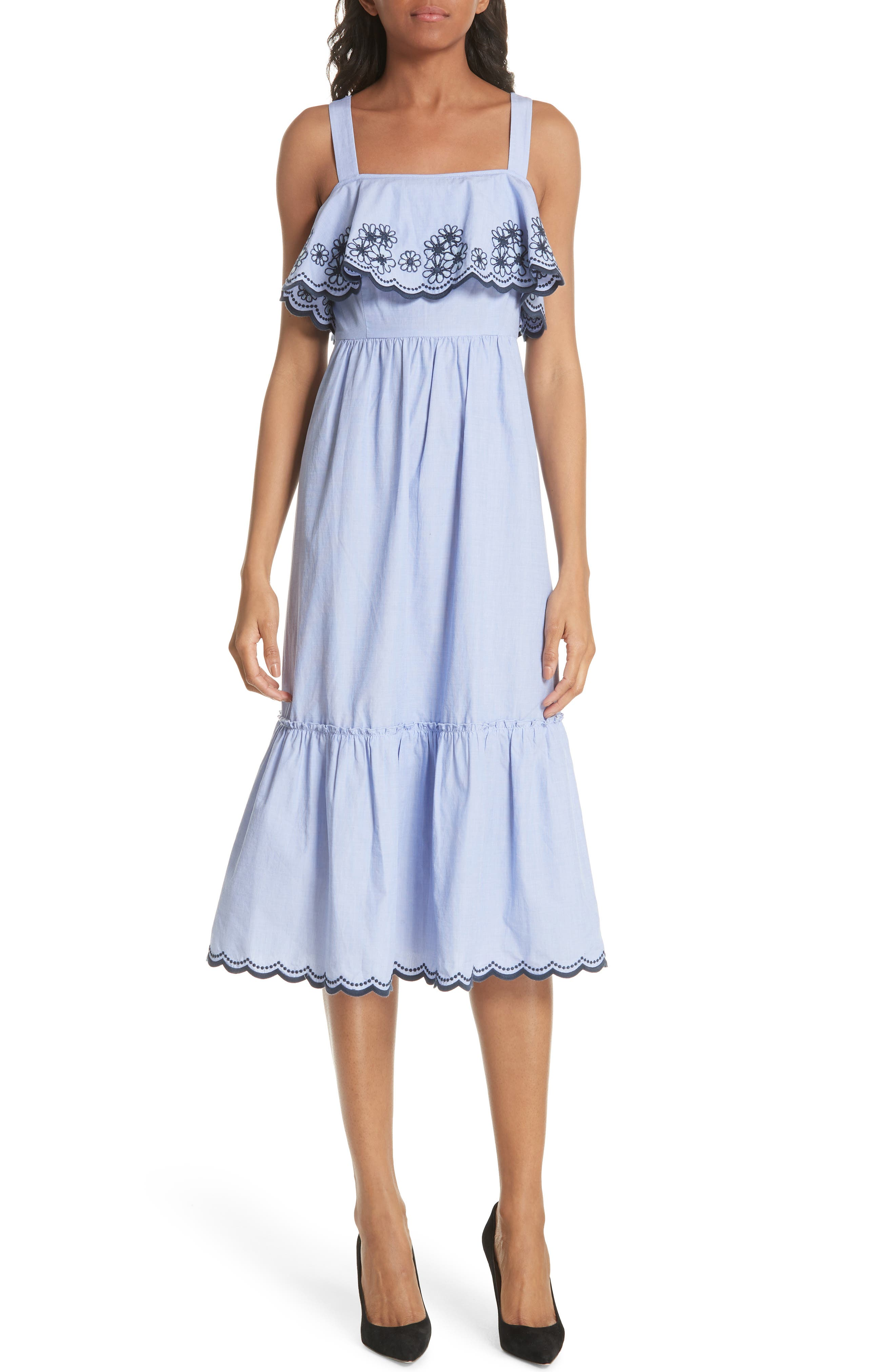 daisy embroidered cotton patio dress,                         Main,                         color, Ensemble Blue