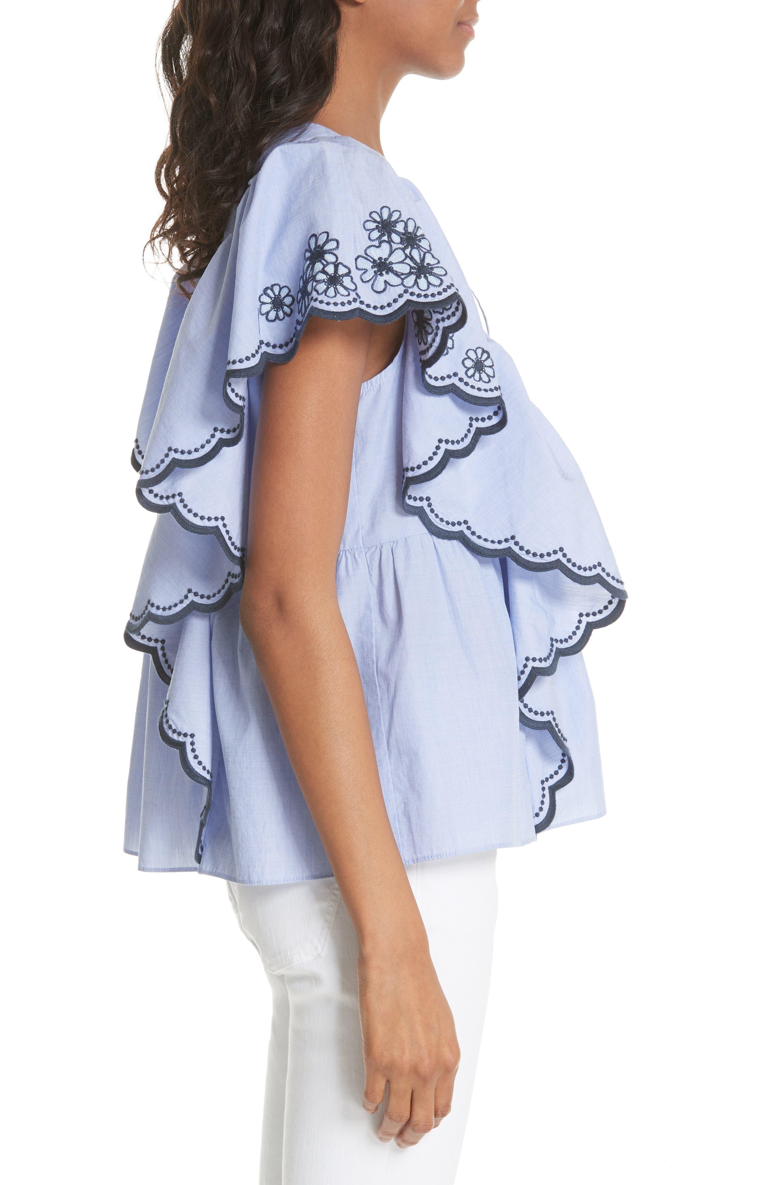 daisy embroidered cotton top,                             Alternate thumbnail 3, color,                             Ensemble Blue