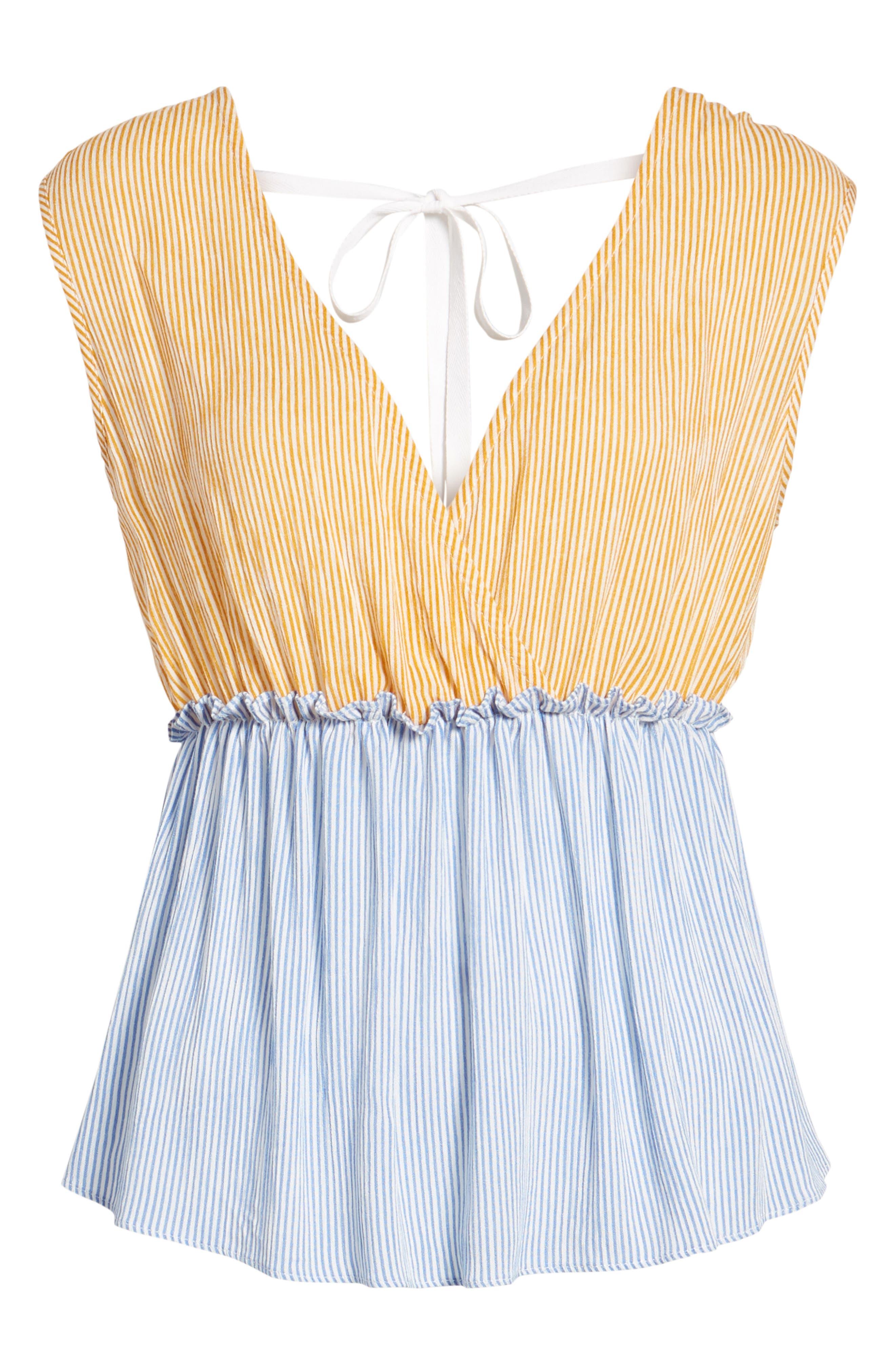 Mixed Stripe Tie Back Top,                             Alternate thumbnail 7, color,                             Blue Bell Devan Stripe