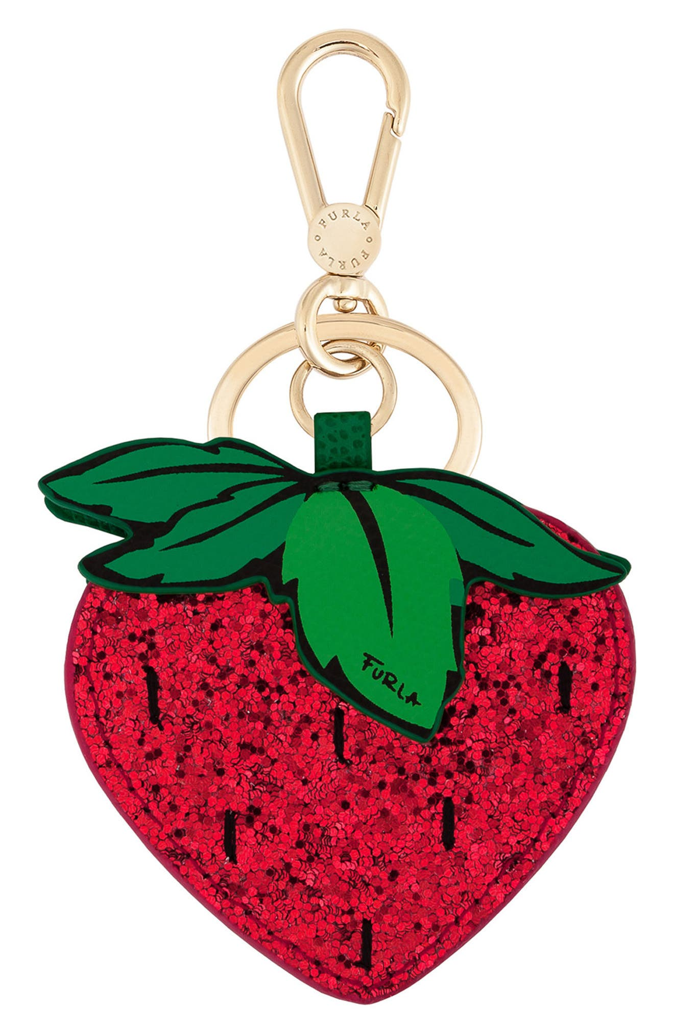 Strawberry Glitter Bag Charm,                         Main,                         color, Toni Ruby
