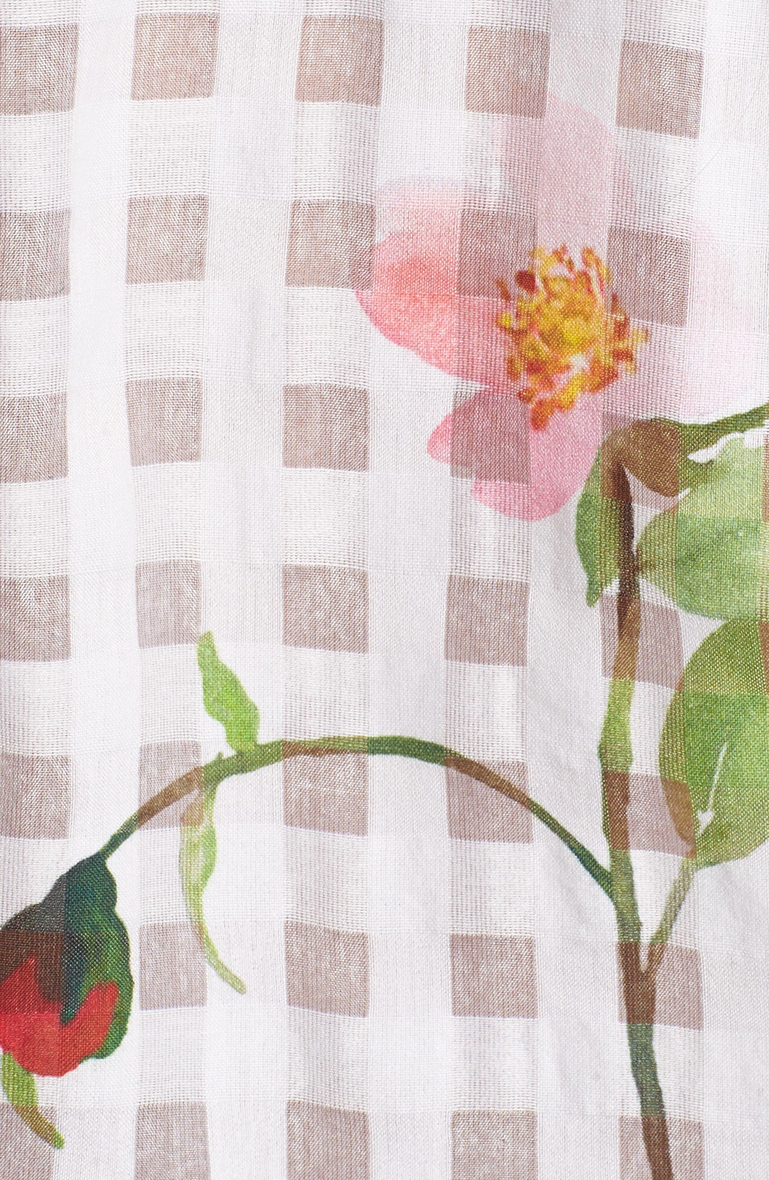 Kelsey Tie Front Shirt,                             Alternate thumbnail 6, color,                             Floral Powder Check