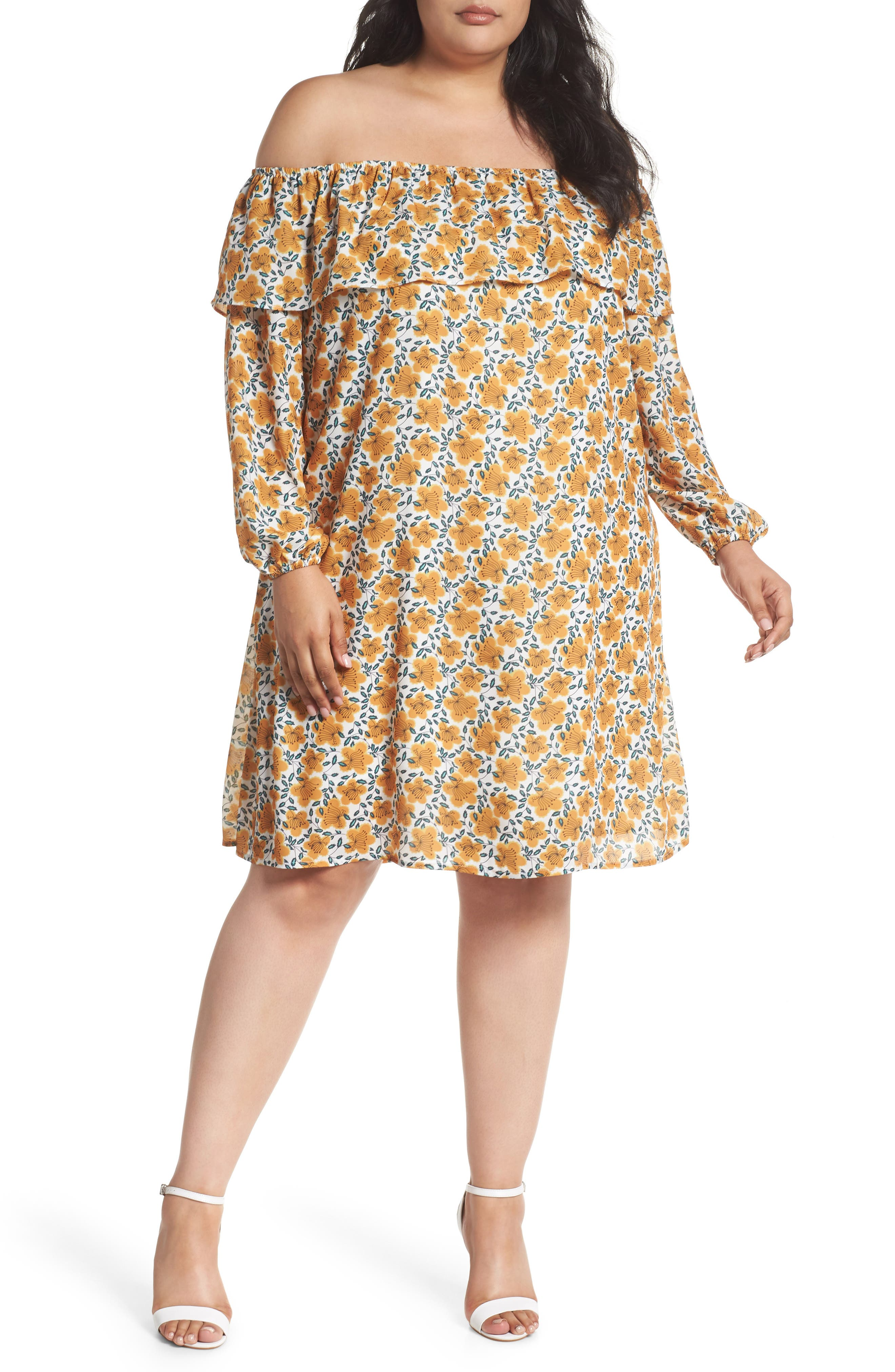 Glamorous Floral Ruffle Off the Shoulder Shift Dress (Plus Size)