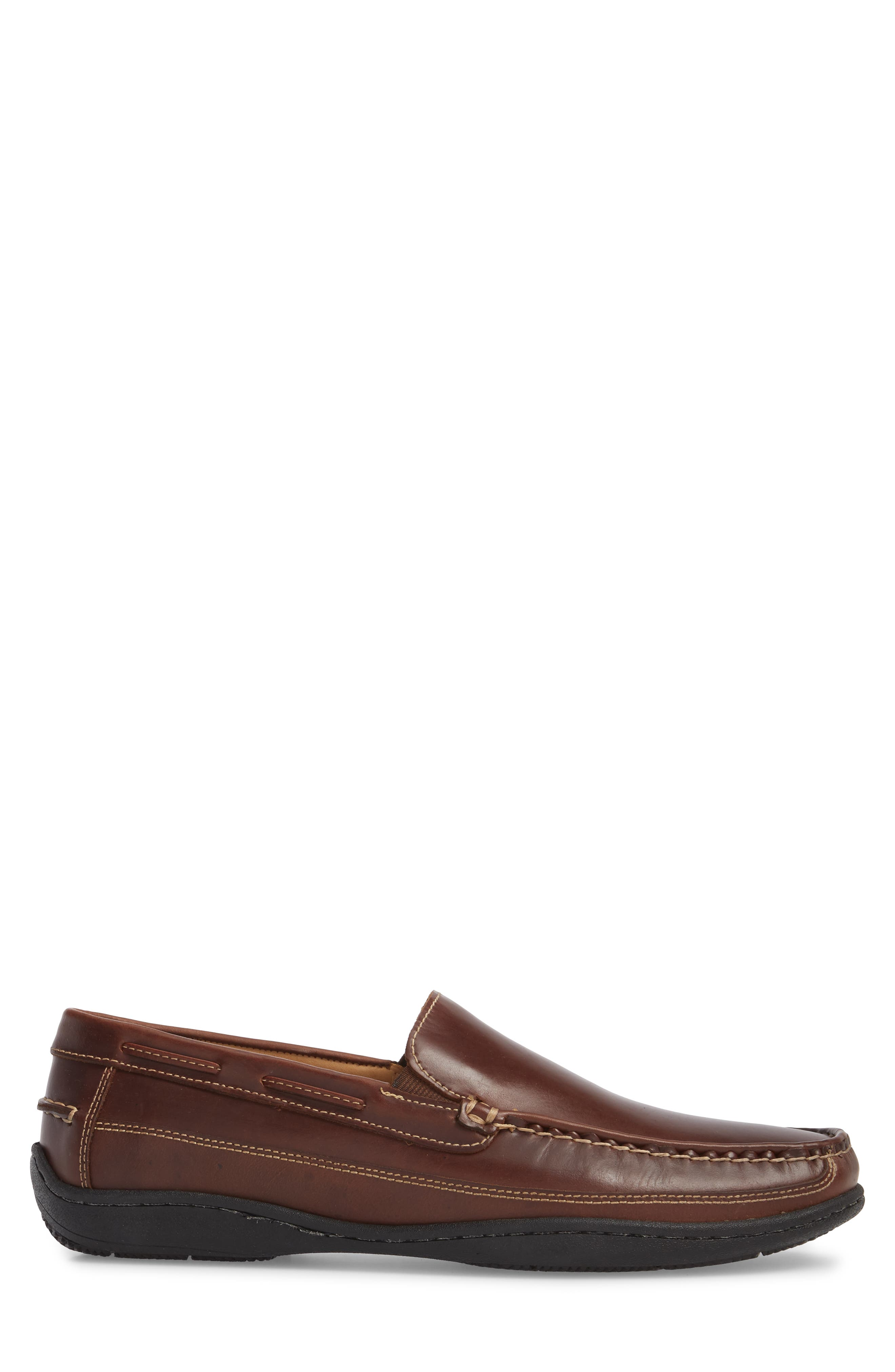 Fowler Moc Toe Loafer,                             Alternate thumbnail 3, color,                             Mahogany Leather