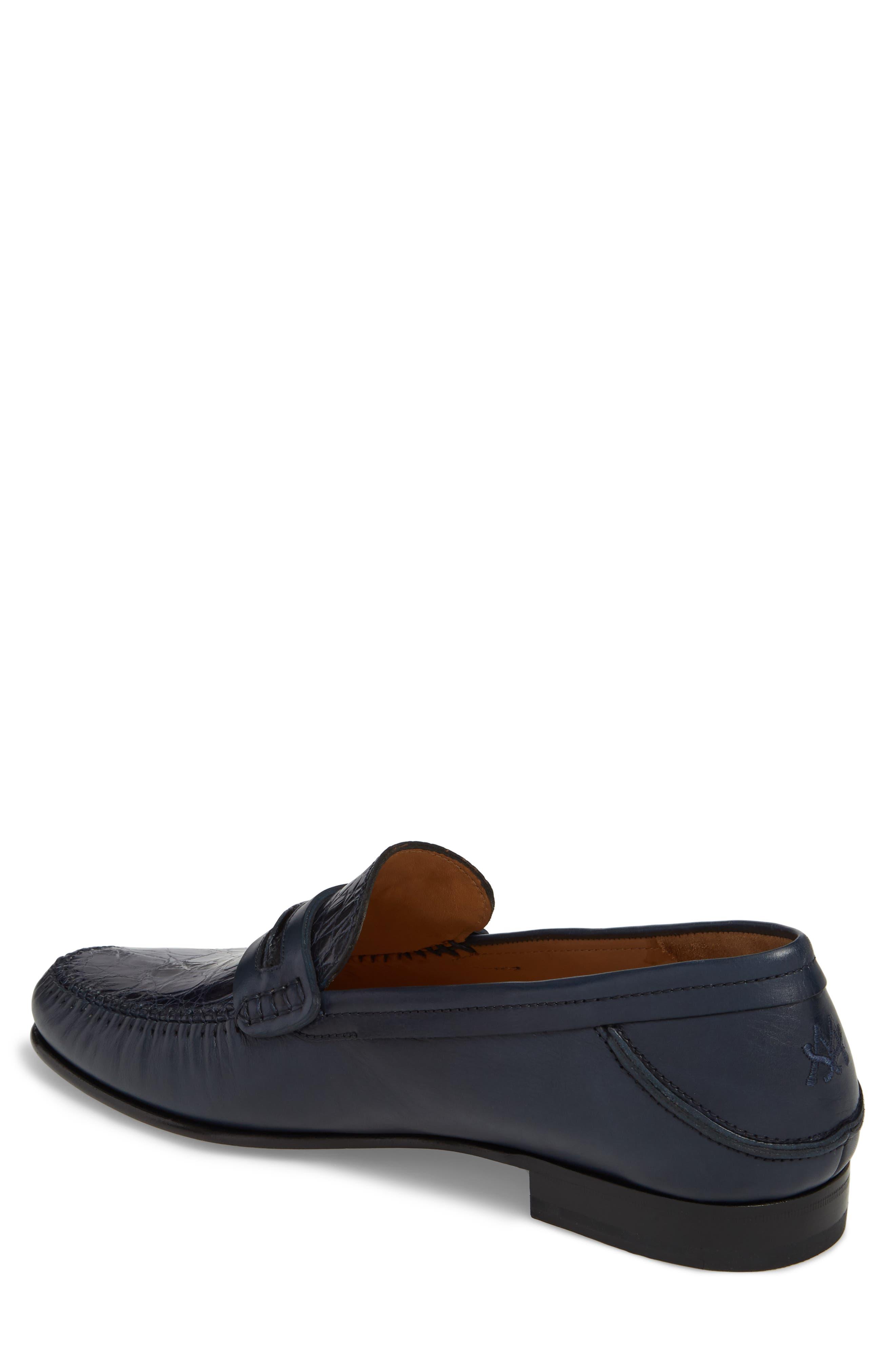 Kronos Moc Toe Penny Loafer,                             Alternate thumbnail 2, color,                             Blue Leather