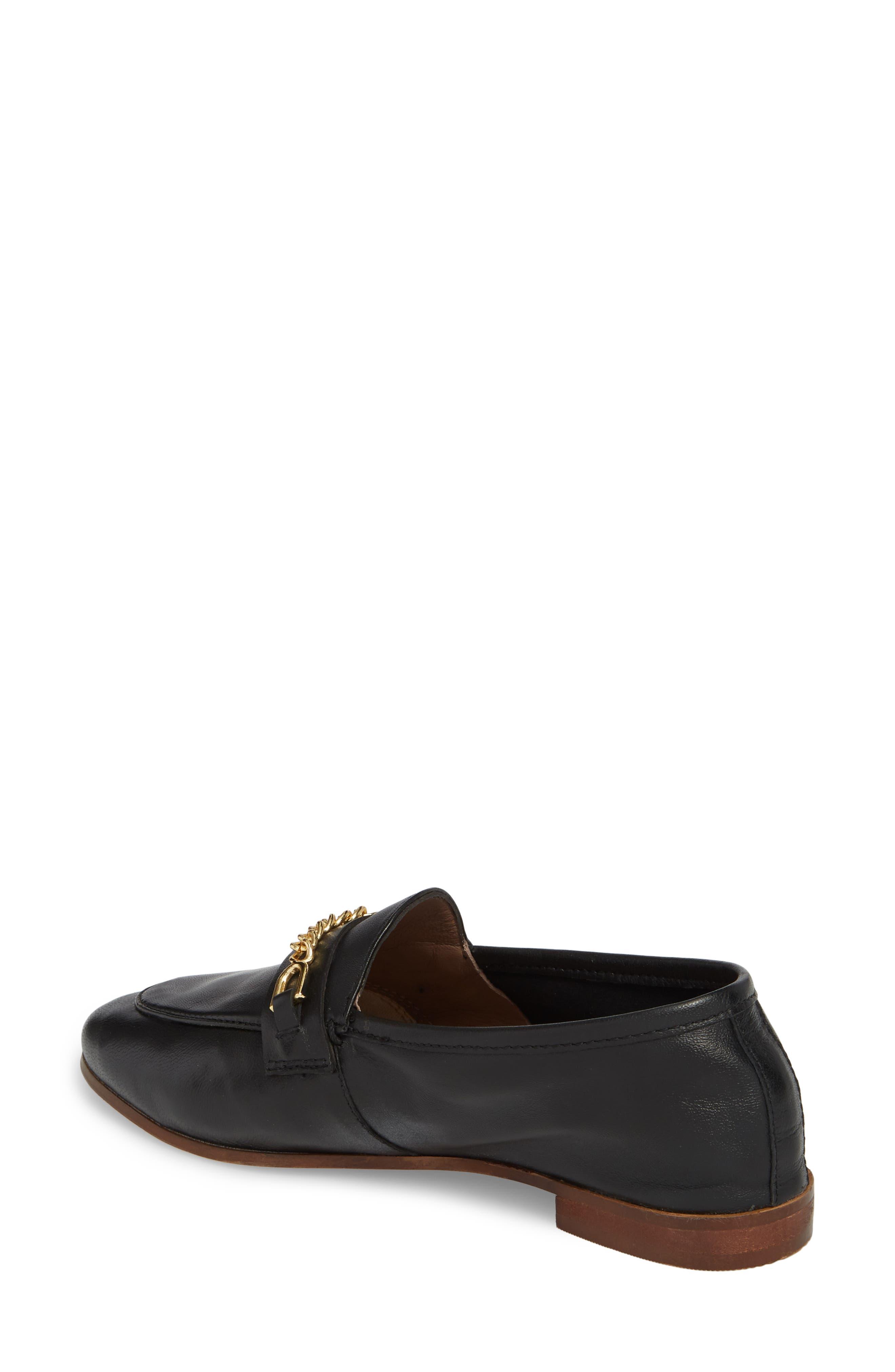 Chain Trim Apron Toe Loafer,                             Alternate thumbnail 2, color,                             Black