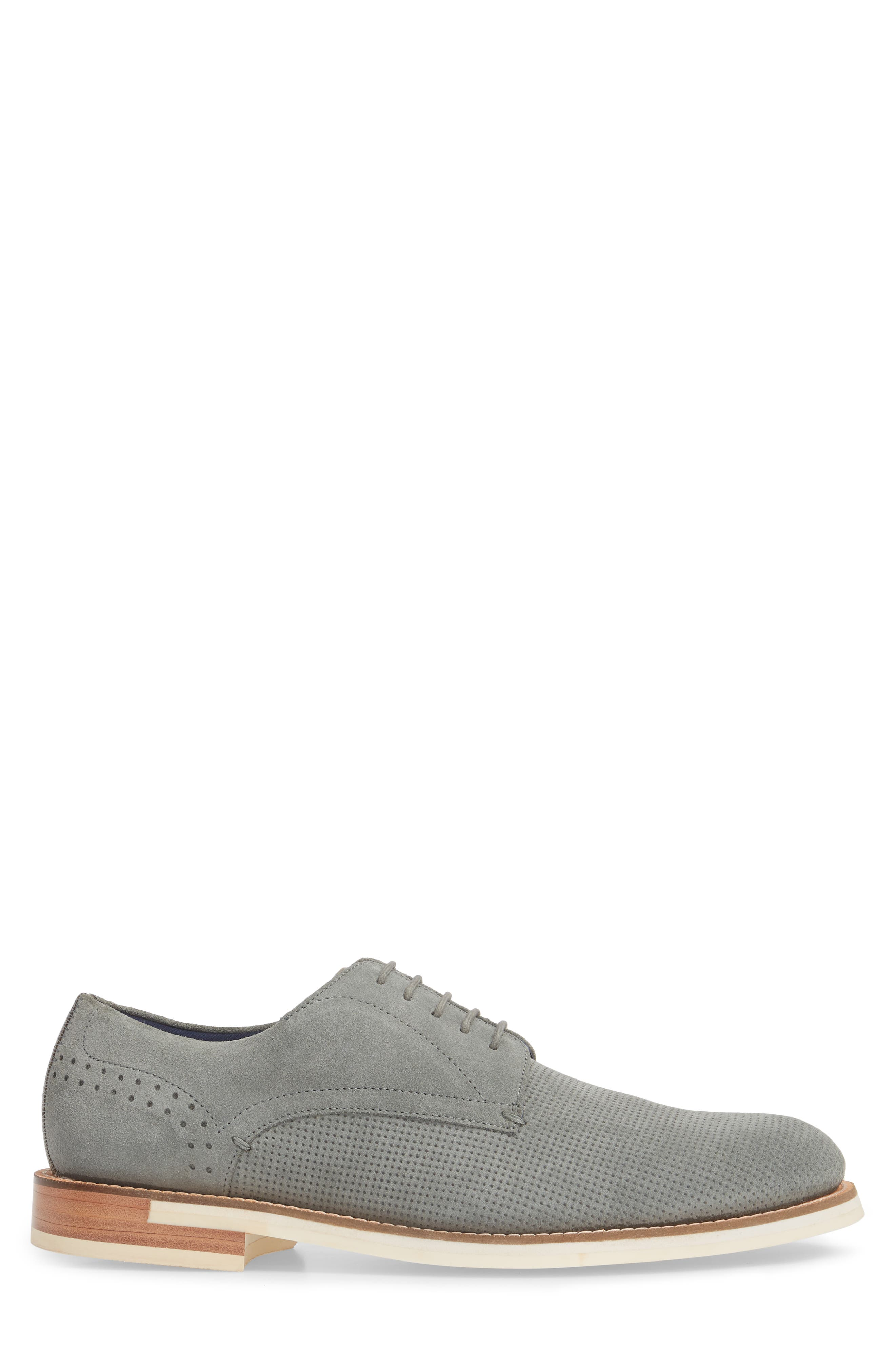 Lapiin Embossed Plain Toe Derby,                             Alternate thumbnail 3, color,                             Grey Suede