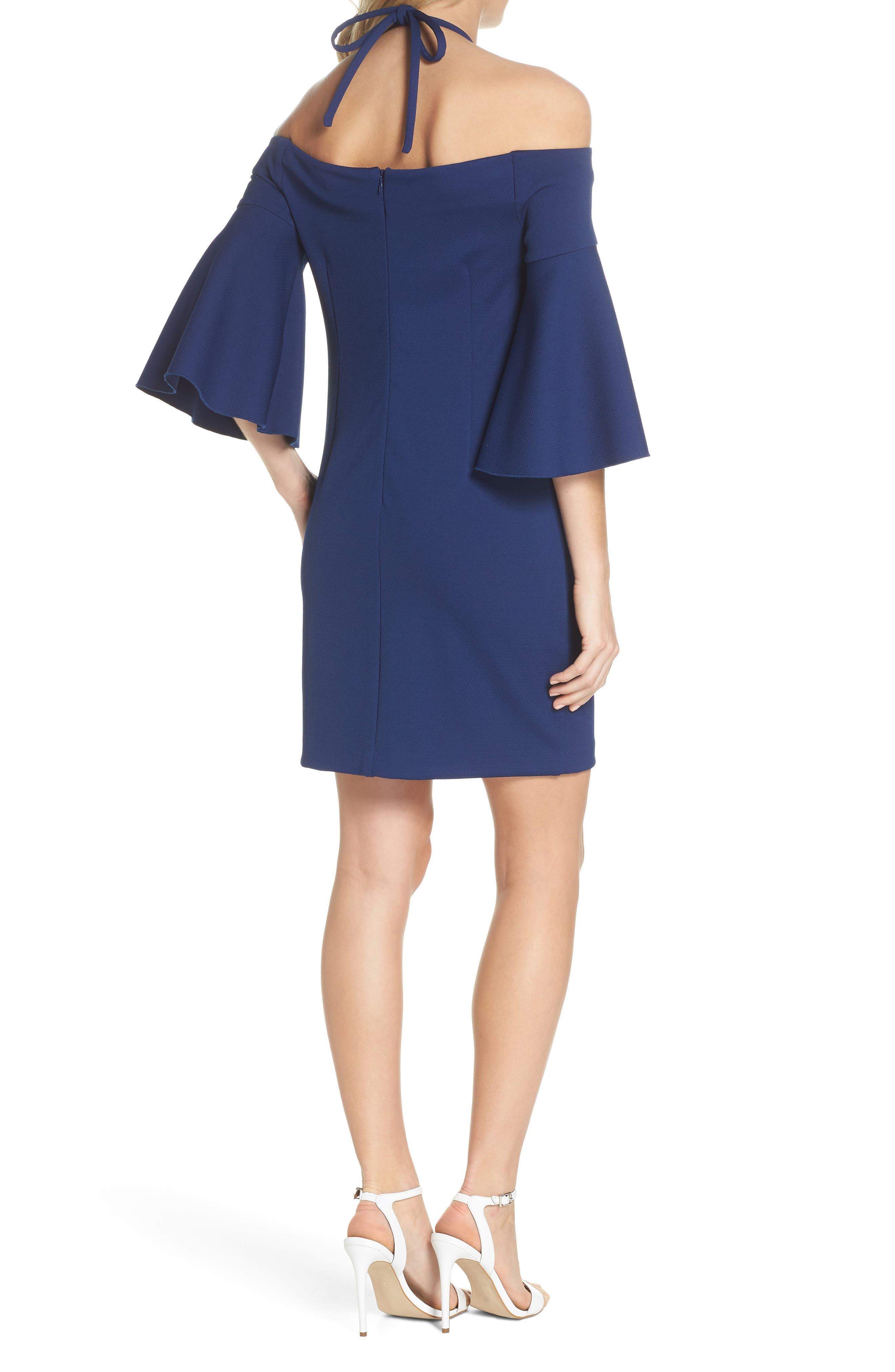Shell Beach Bell Sleeve Halter Dress,                             Alternate thumbnail 2, color,                             Bondi Blue