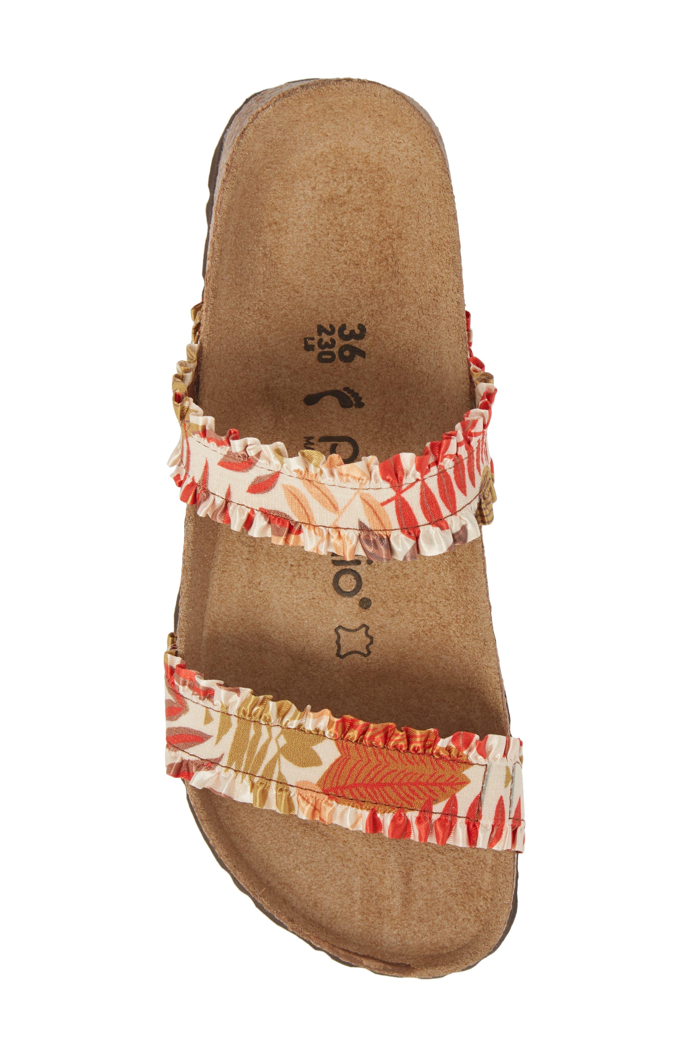 Papillio by Birkenstock Curacao Slide Sandal,                             Alternate thumbnail 5, color,                             Flower Frill Brown Fabric