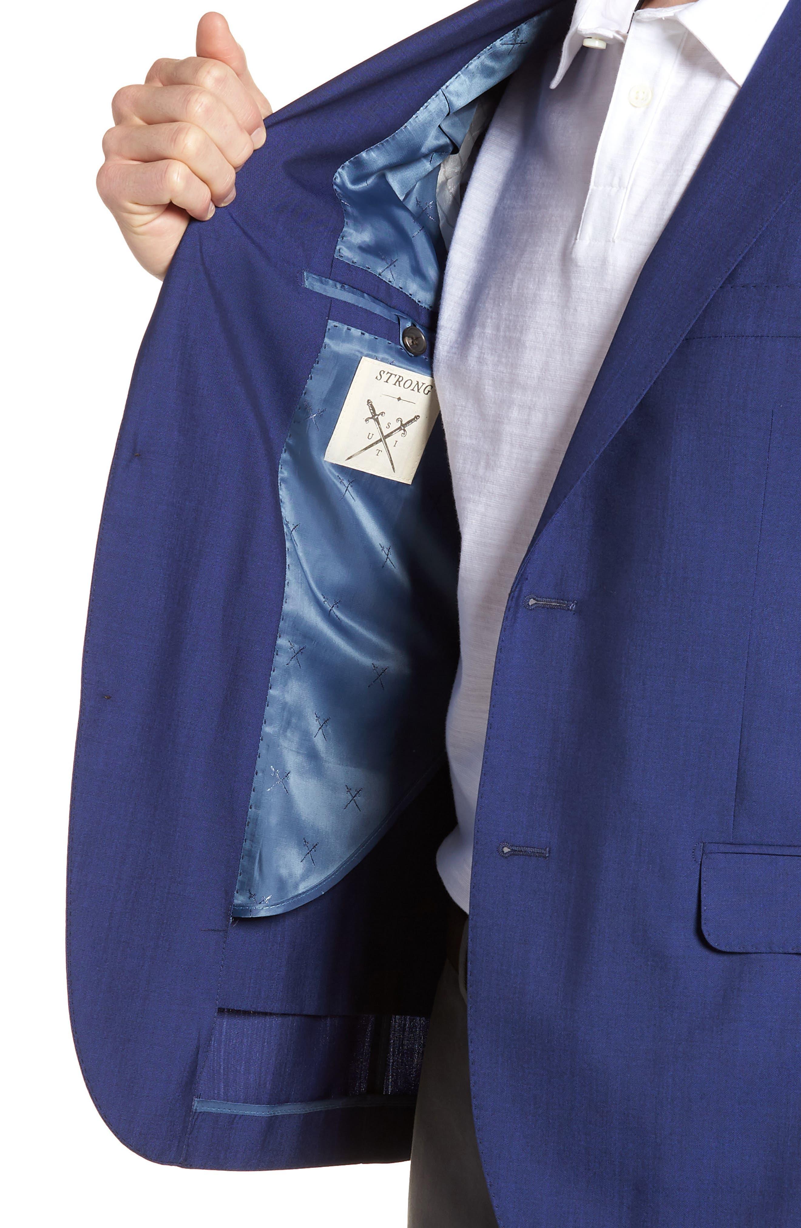 Shelby Trim Fit Wool Blazer,                             Alternate thumbnail 4, color,                             High Blue