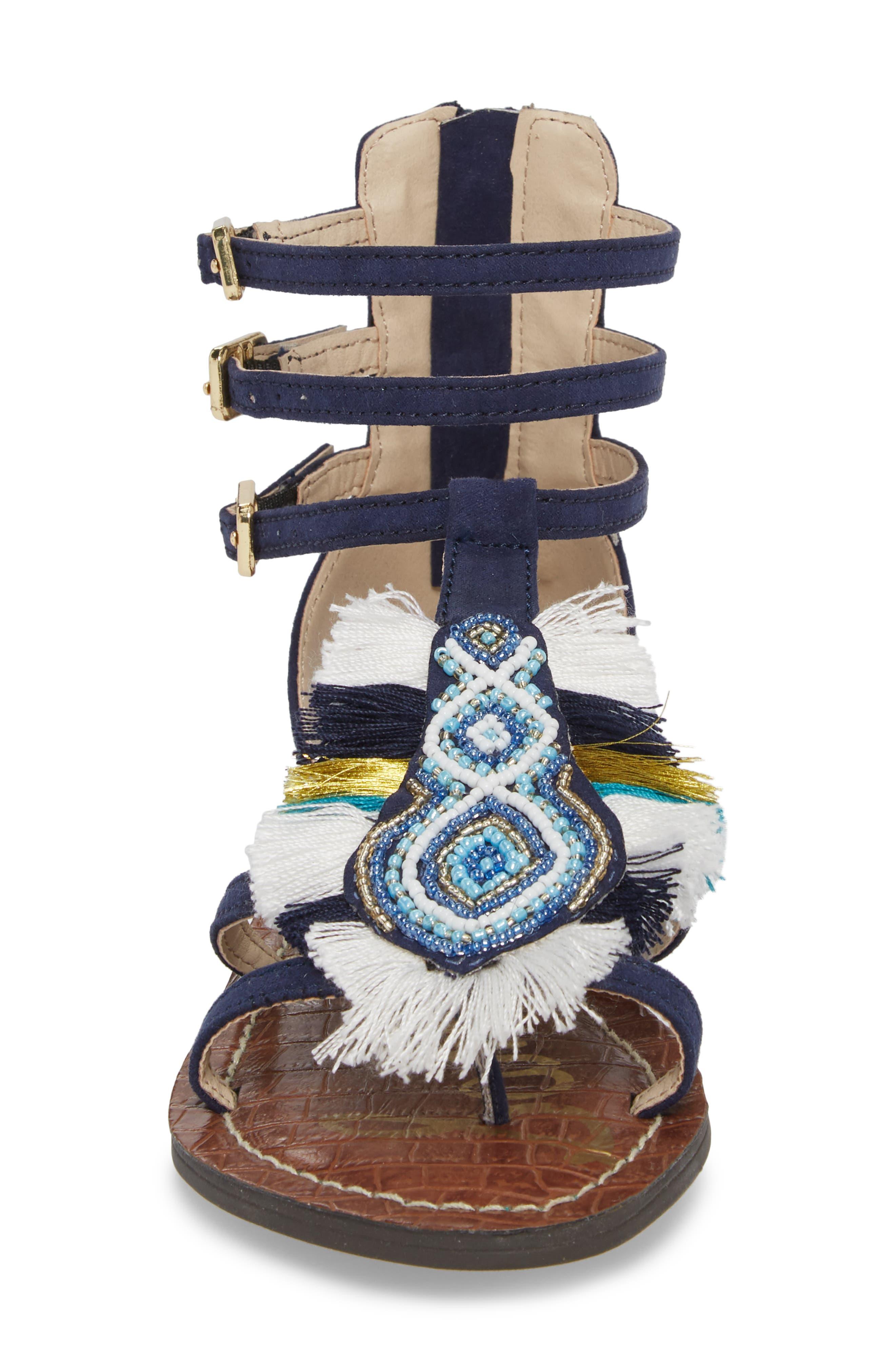 Gigi Giselle Embellished Sandal,                             Alternate thumbnail 4, color,                             Navy Faux Suede