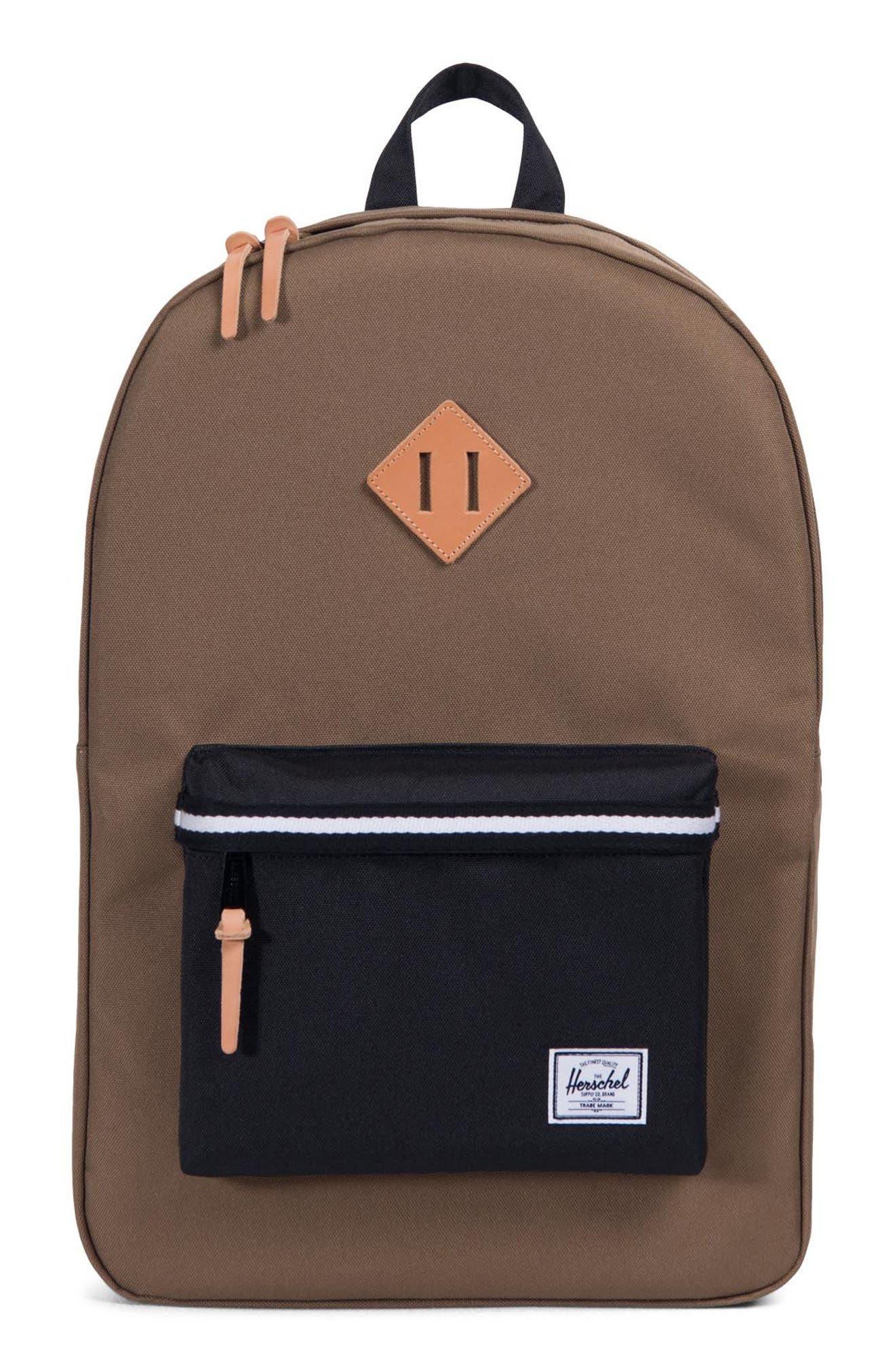 Heritage Offset Stripe Backpack,                             Main thumbnail 1, color,                             Cub/ Black/ White