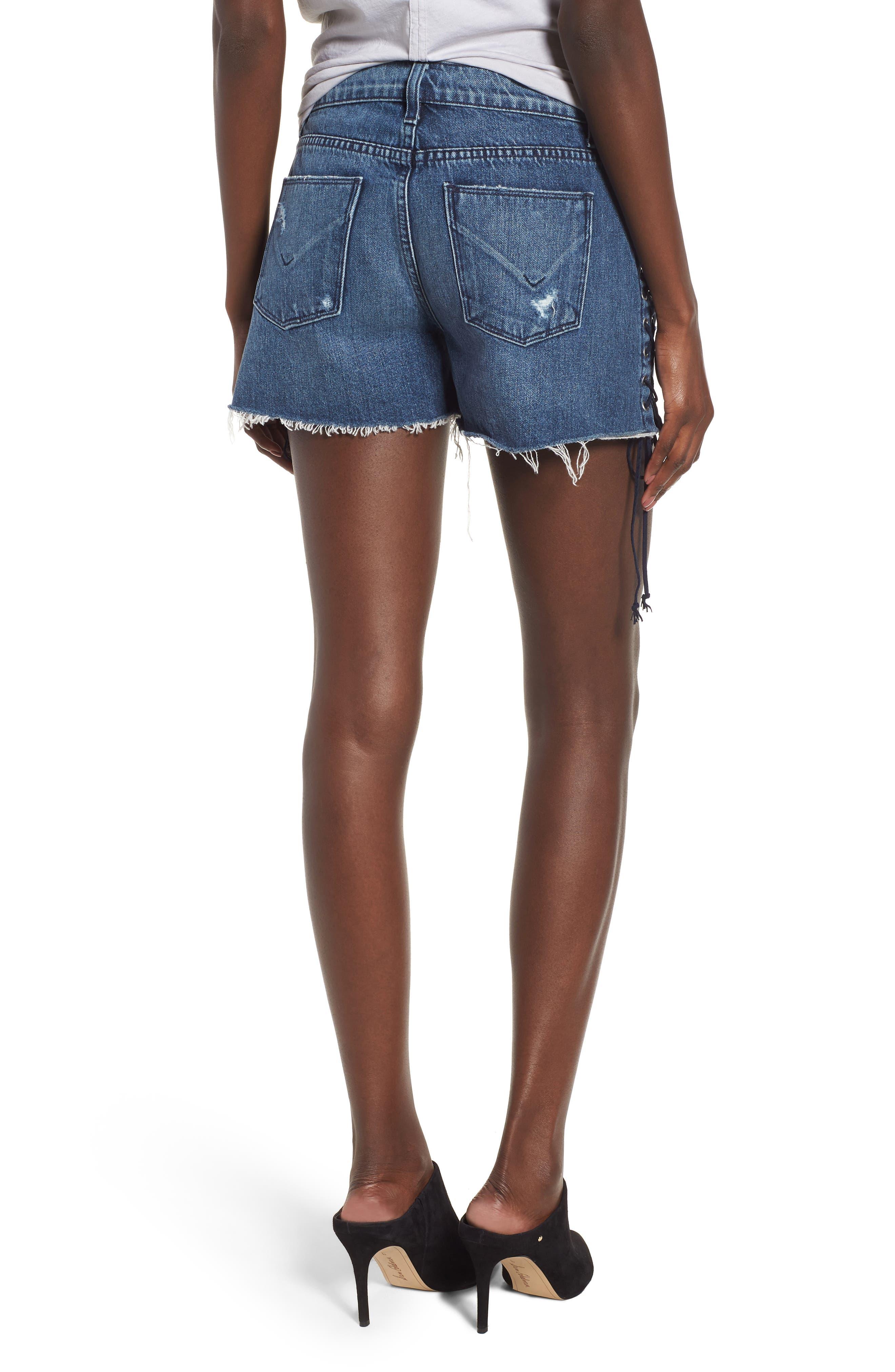 Alternate Image 2  - Hudson Jeans Sade Lace-Up Cutoff Denim Shorts (Topaz)