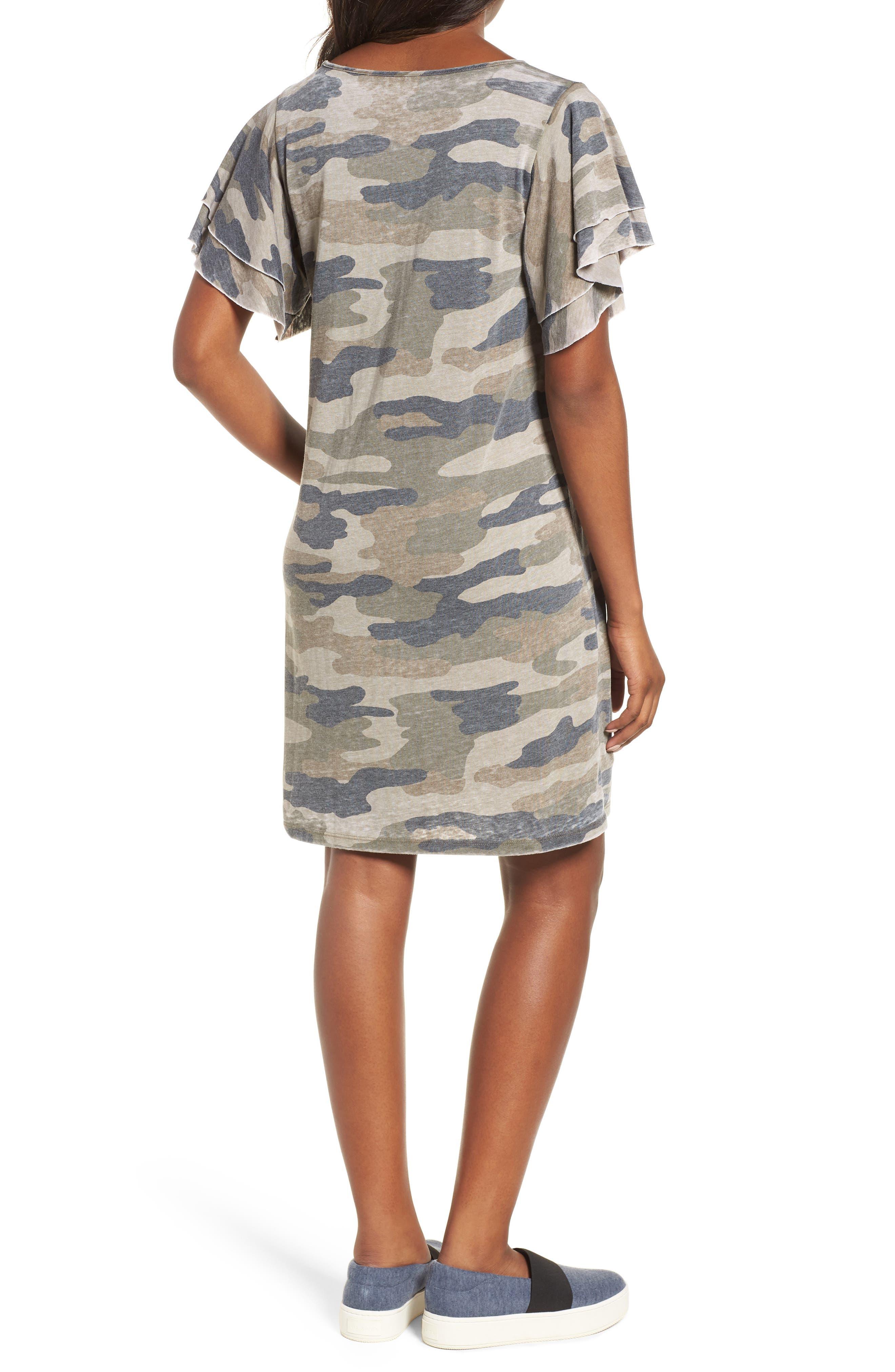 Camo Print Dress,                             Alternate thumbnail 2, color,                             Multi