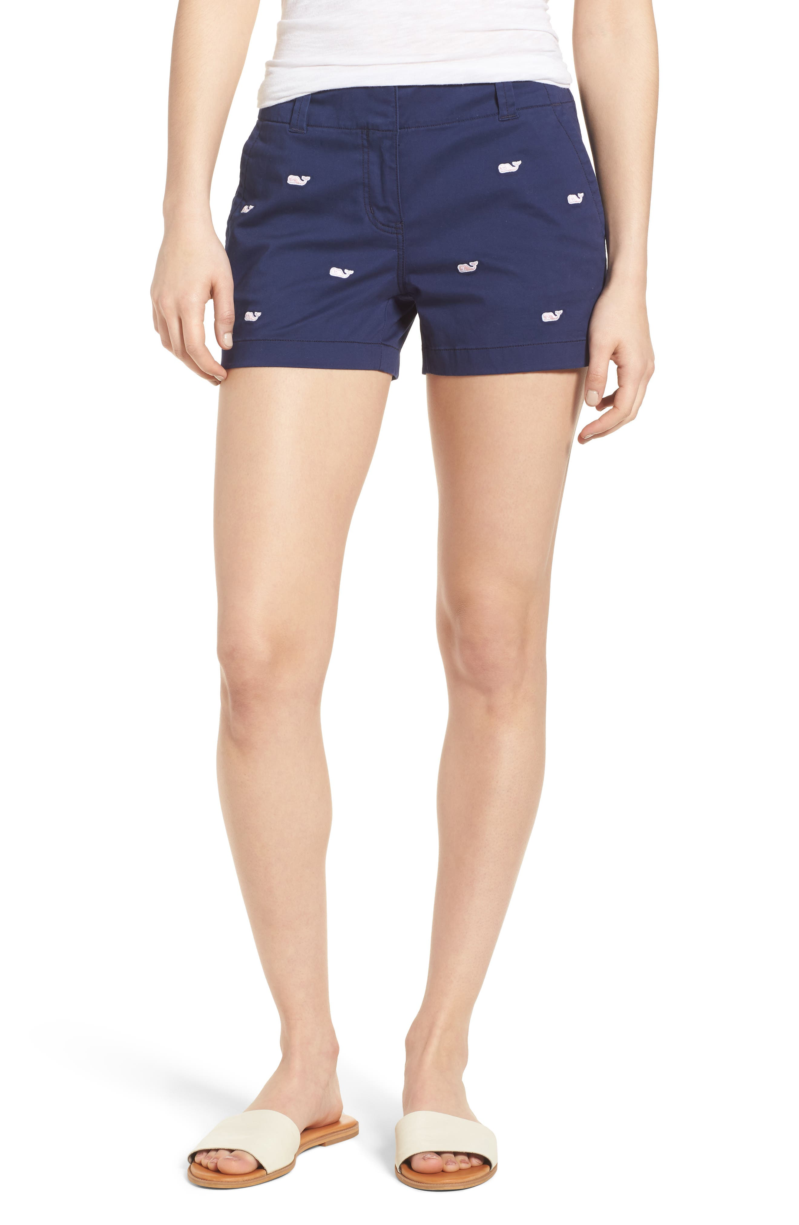 Whale Embroidered Chino Shorts,                         Main,                         color, Deep Bay