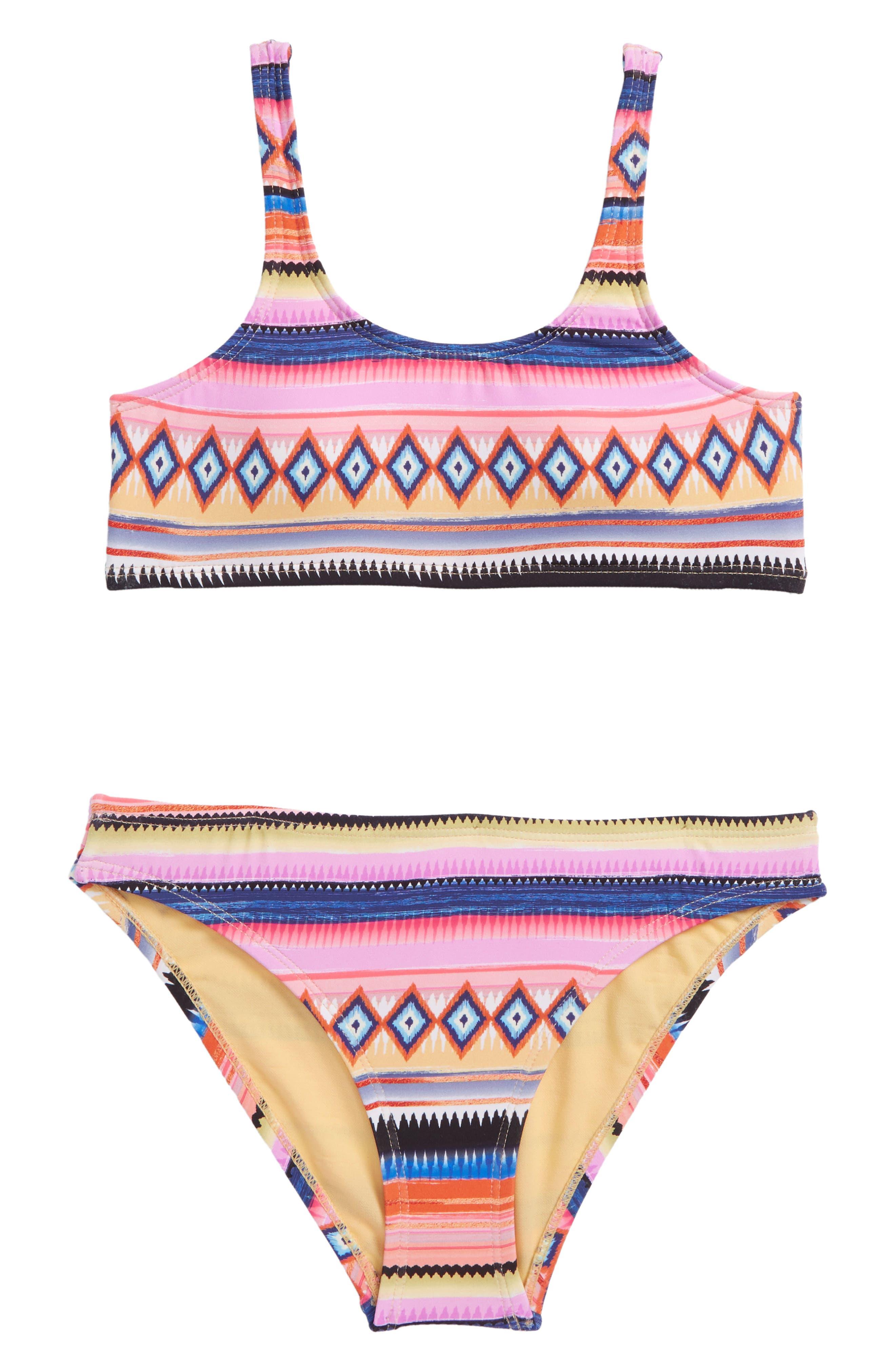 Stripe Two-Piece Swimsuit,                         Main,                         color, Multi