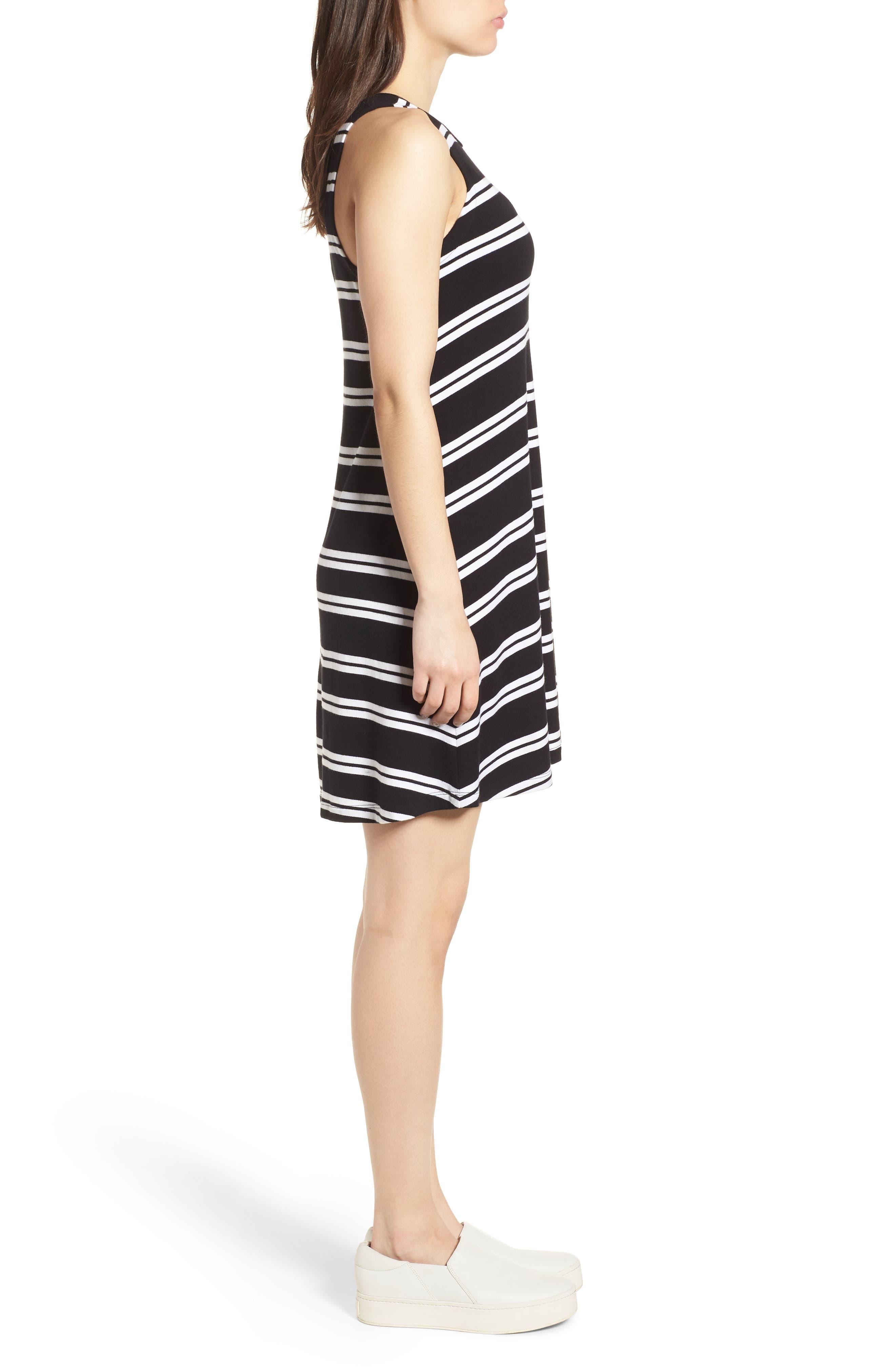 Sleeveless Stretch Knit Stripe Dress,                             Alternate thumbnail 3, color,                             Black