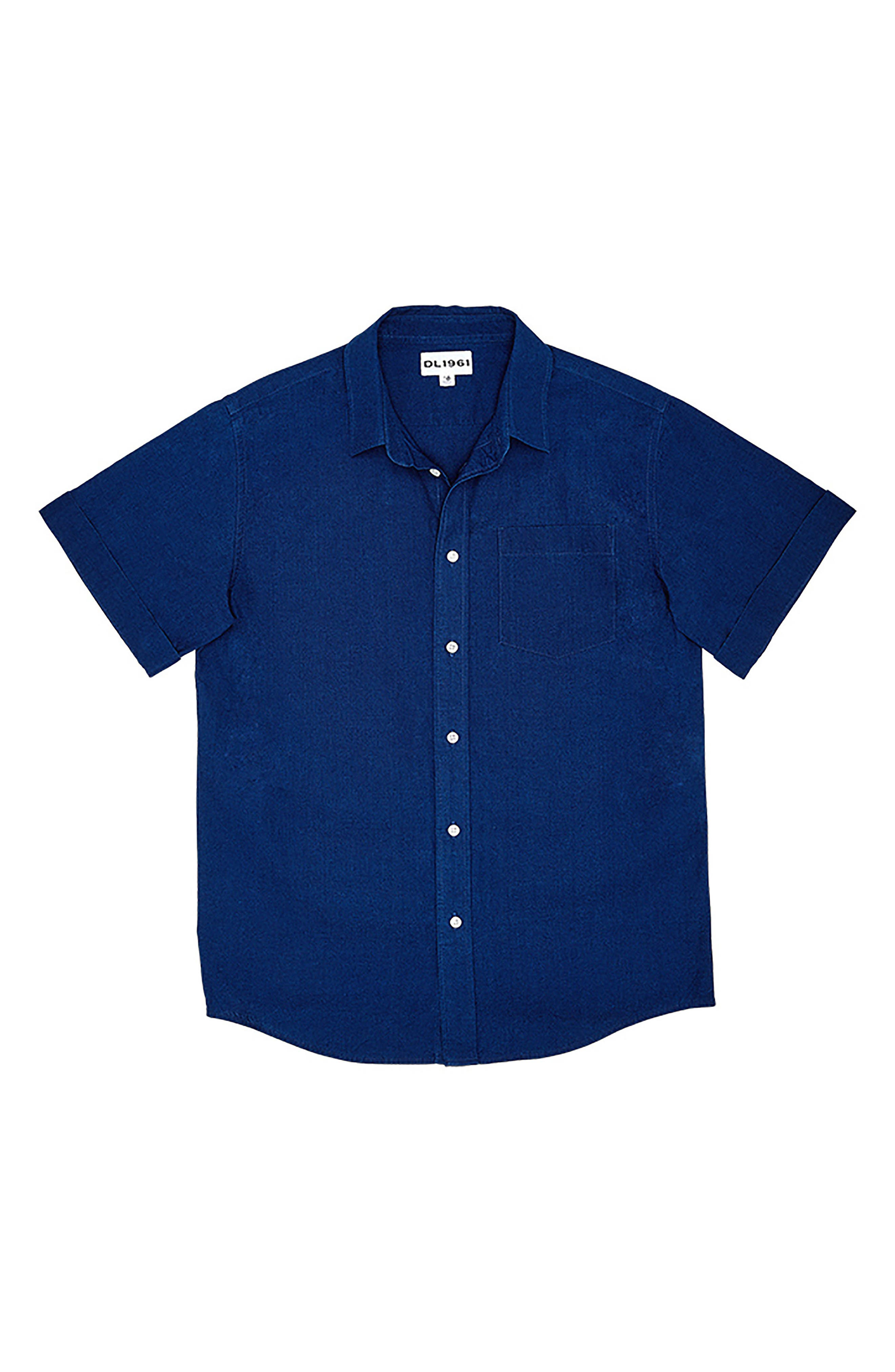 DL 1961 Ash Woven Shirt,                             Main thumbnail 1, color,                             Indigo Plaid
