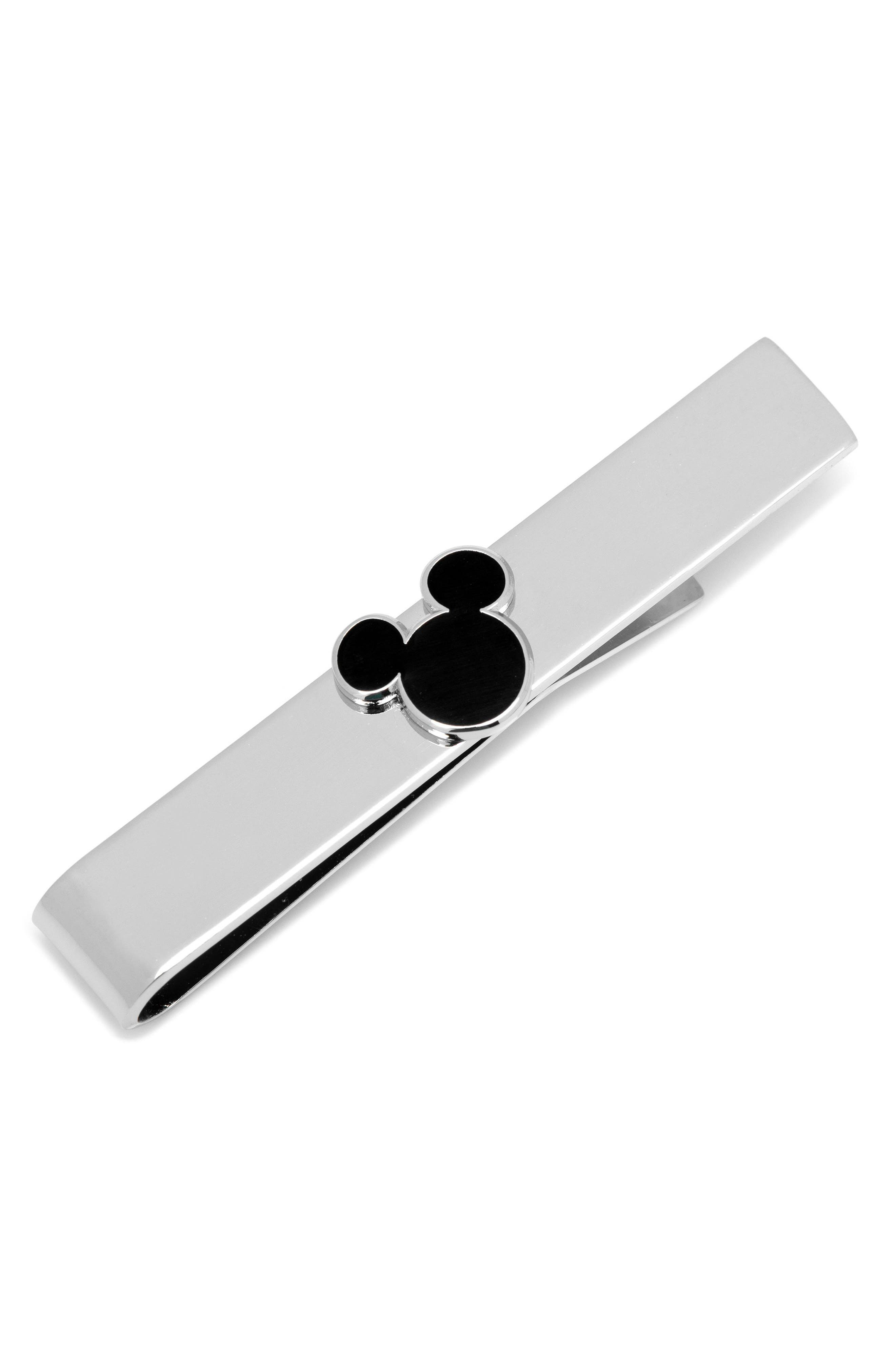 Mickey Mouse Silhouette Tie Bar,                             Main thumbnail 1, color,                             Silver/ Black