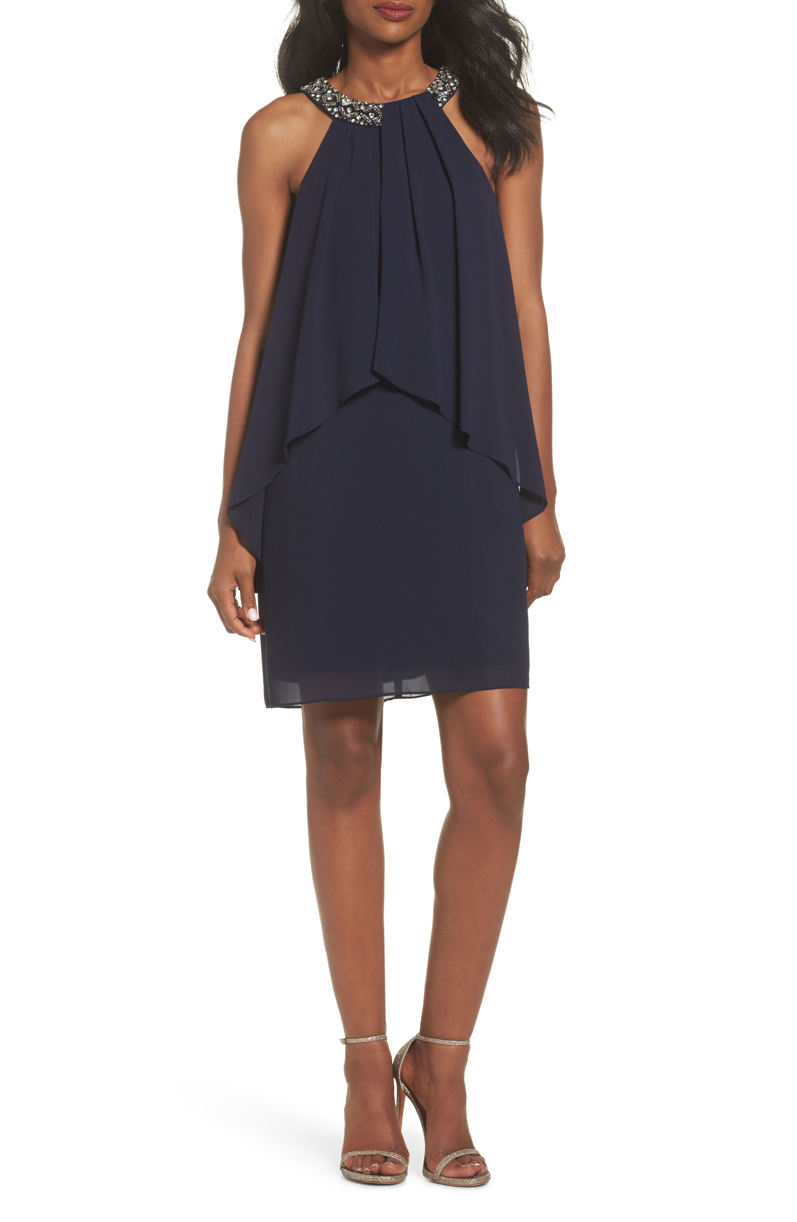 Alternate Image 1 Selected - Vince Camuto Beaded Halter Trapeze Dress