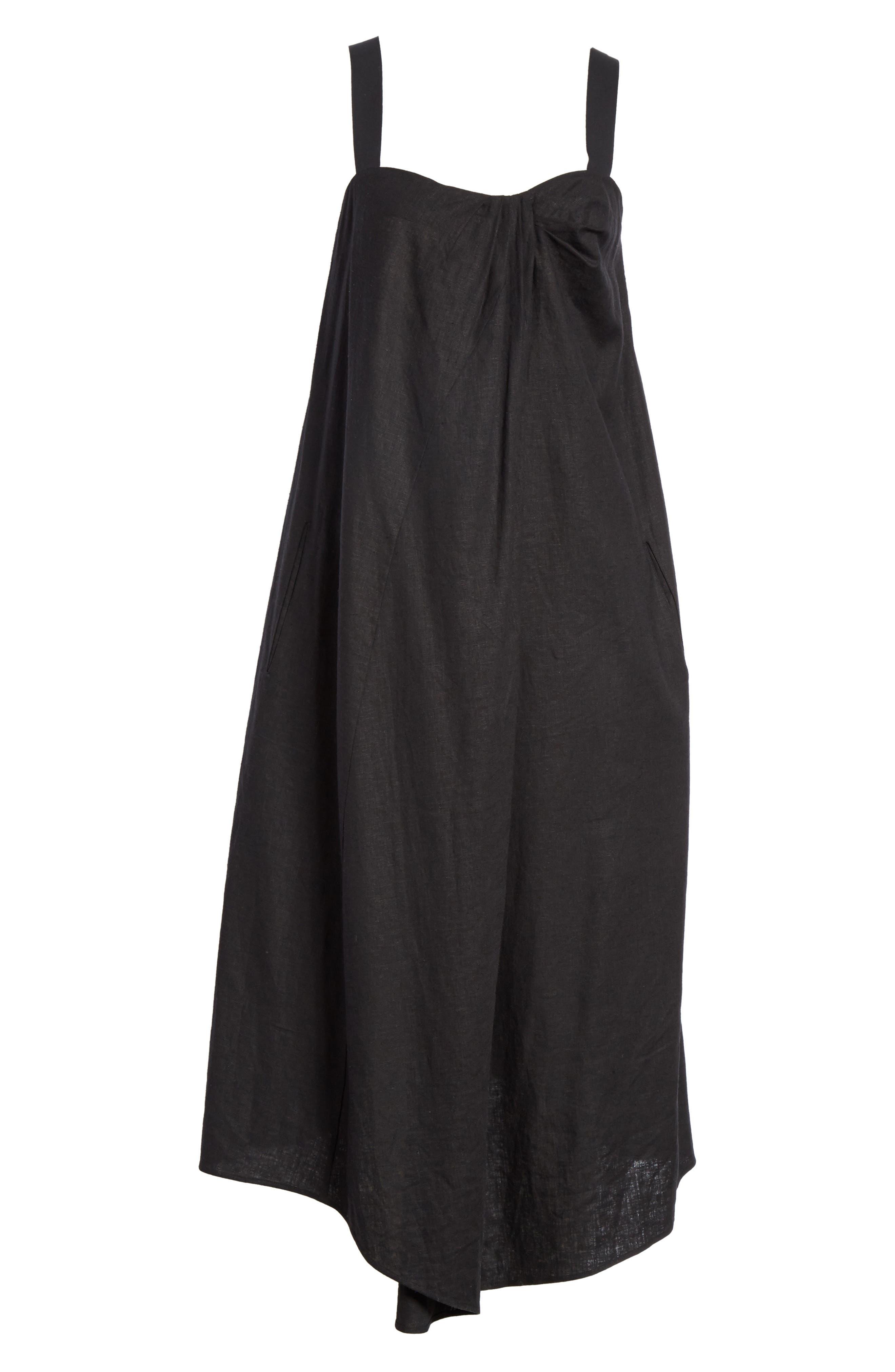 Drape Neck Asymmetrical Hem Dress,                             Alternate thumbnail 6, color,                             Black