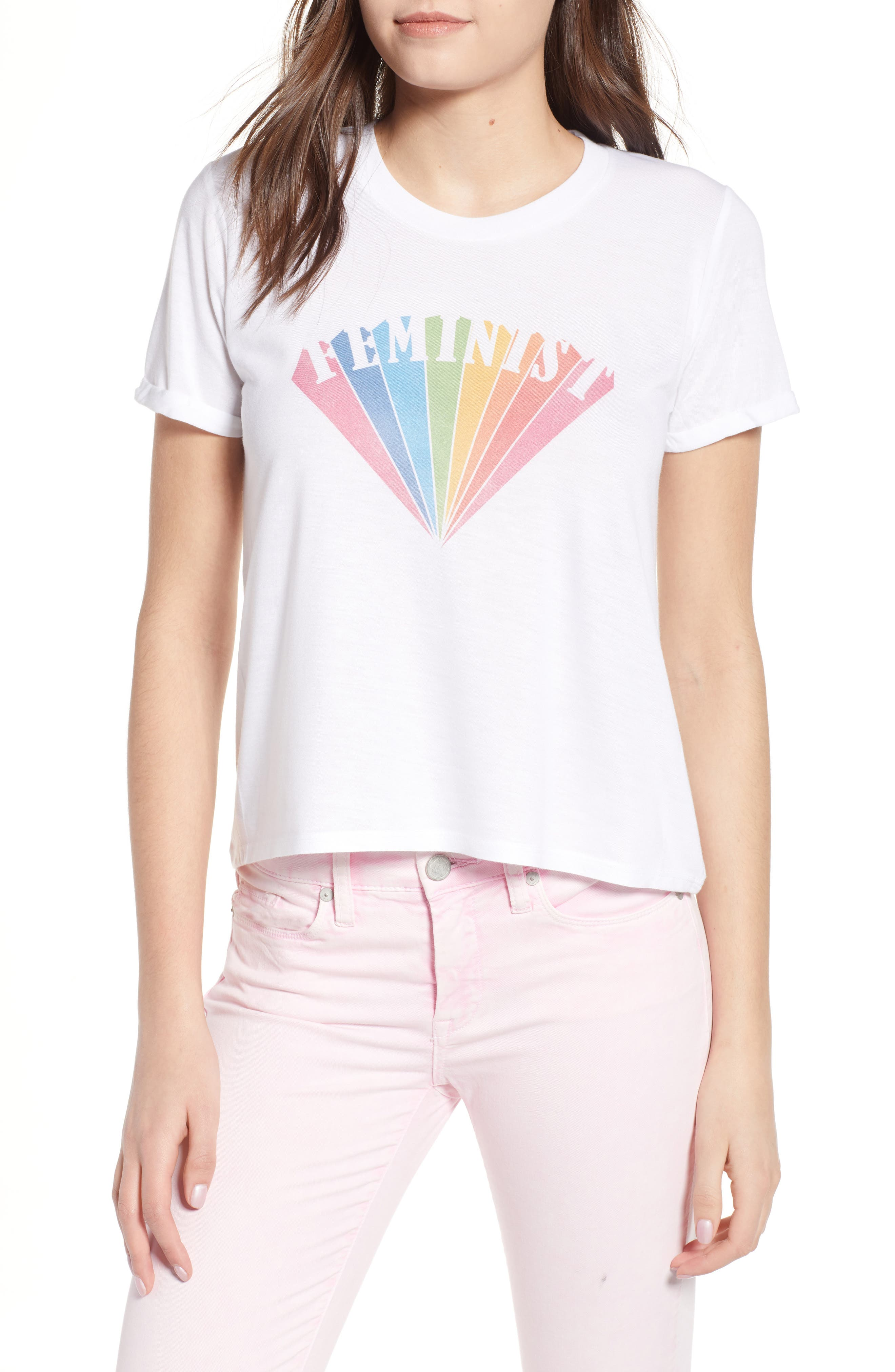 Feminist Graphic Tee,                             Main thumbnail 1, color,                             White