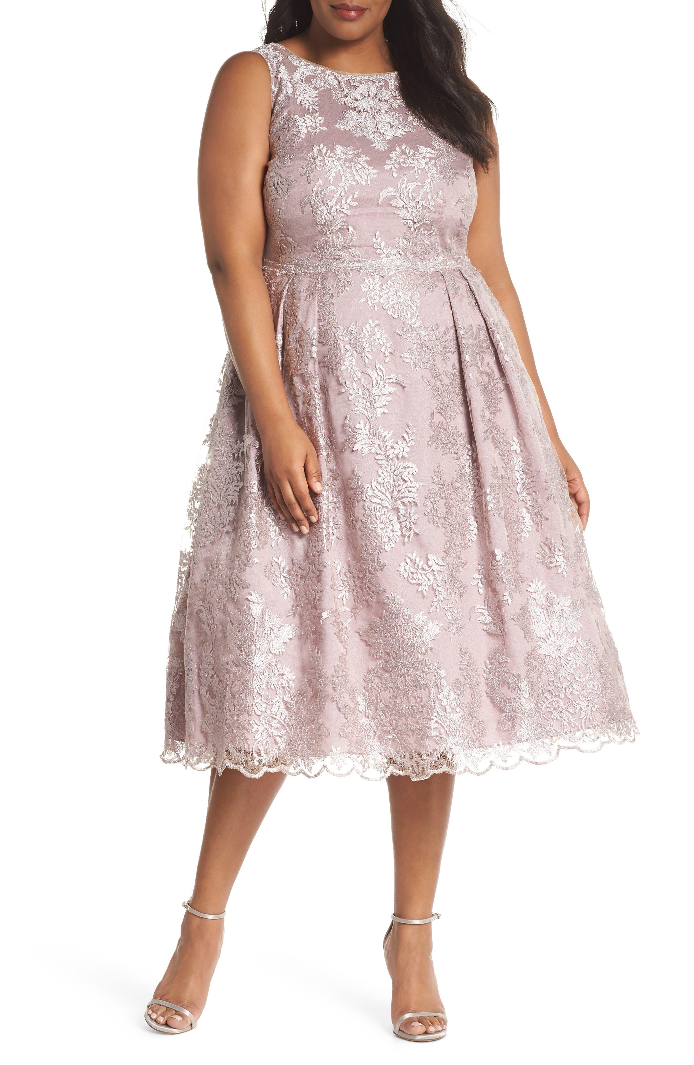 Metallic Embroidered Tea Length Dress,                             Main thumbnail 1, color,                             Lily Rose