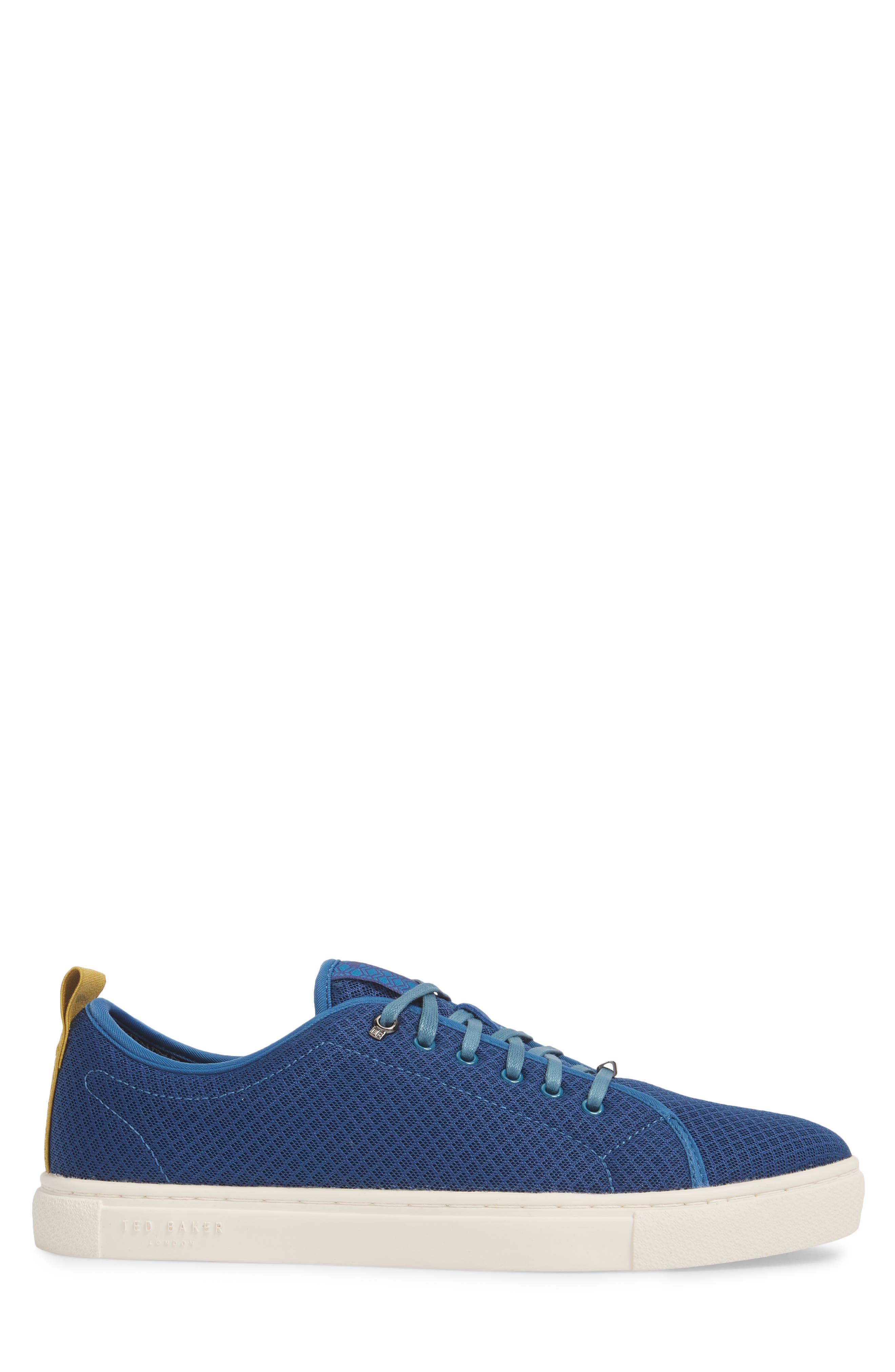 Lannse Low Top Mesh Sneaker,                             Alternate thumbnail 3, color,                             Blue Textile