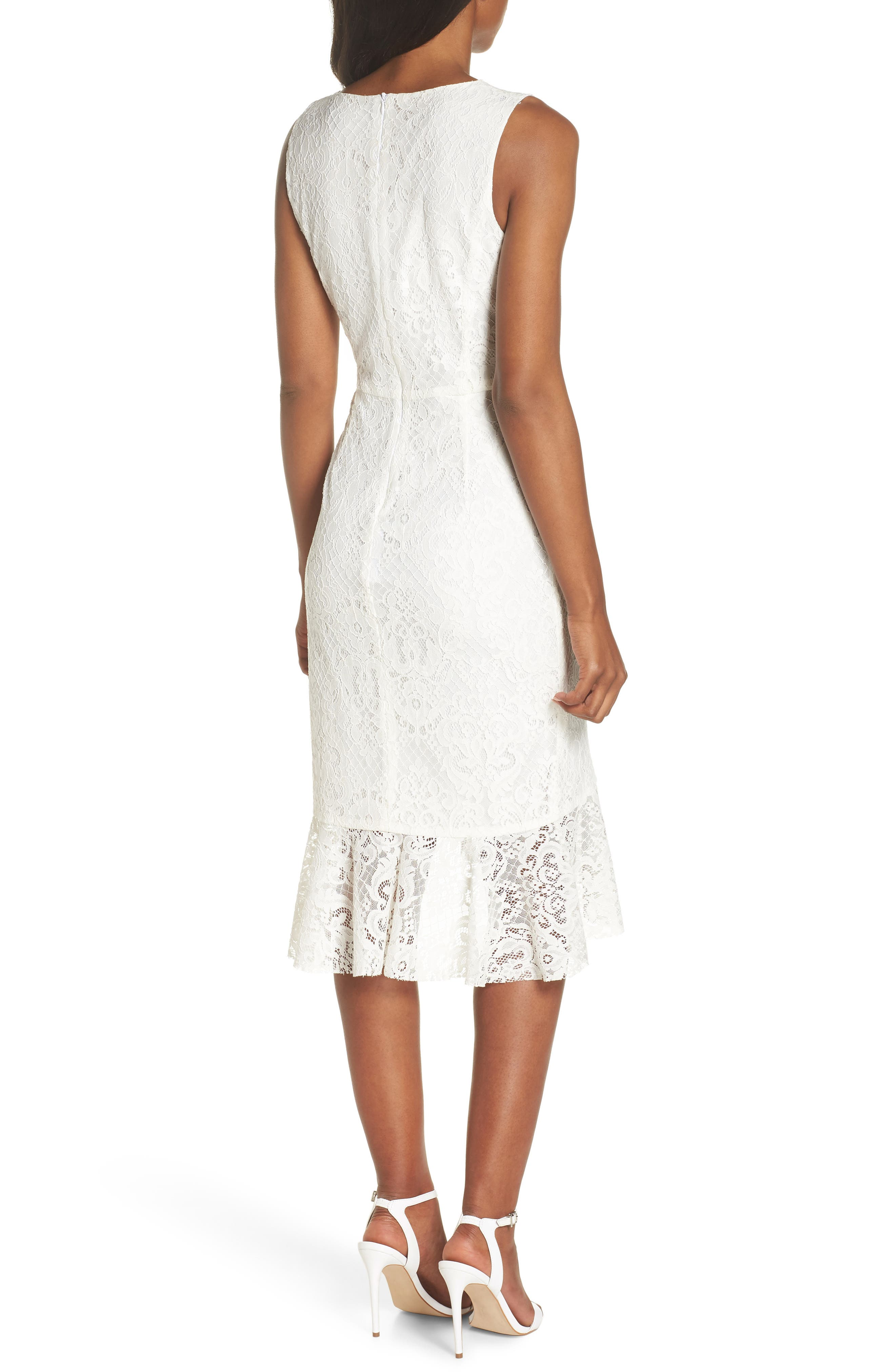 Ruffle Lace Dress,                             Alternate thumbnail 2, color,                             Off White