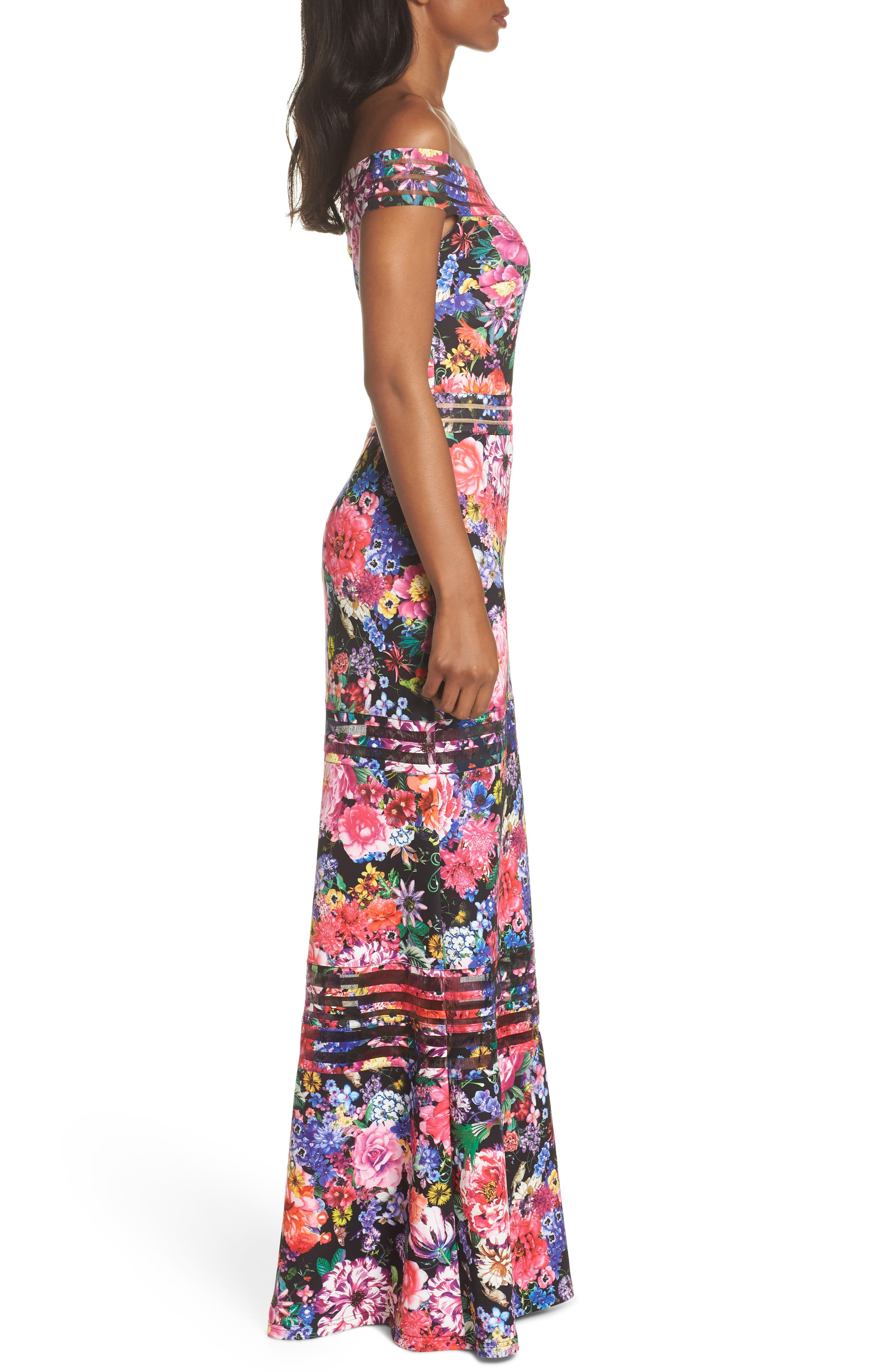 Bondi Off the Shoulder Gown,                             Alternate thumbnail 3, color,                             Black Floral