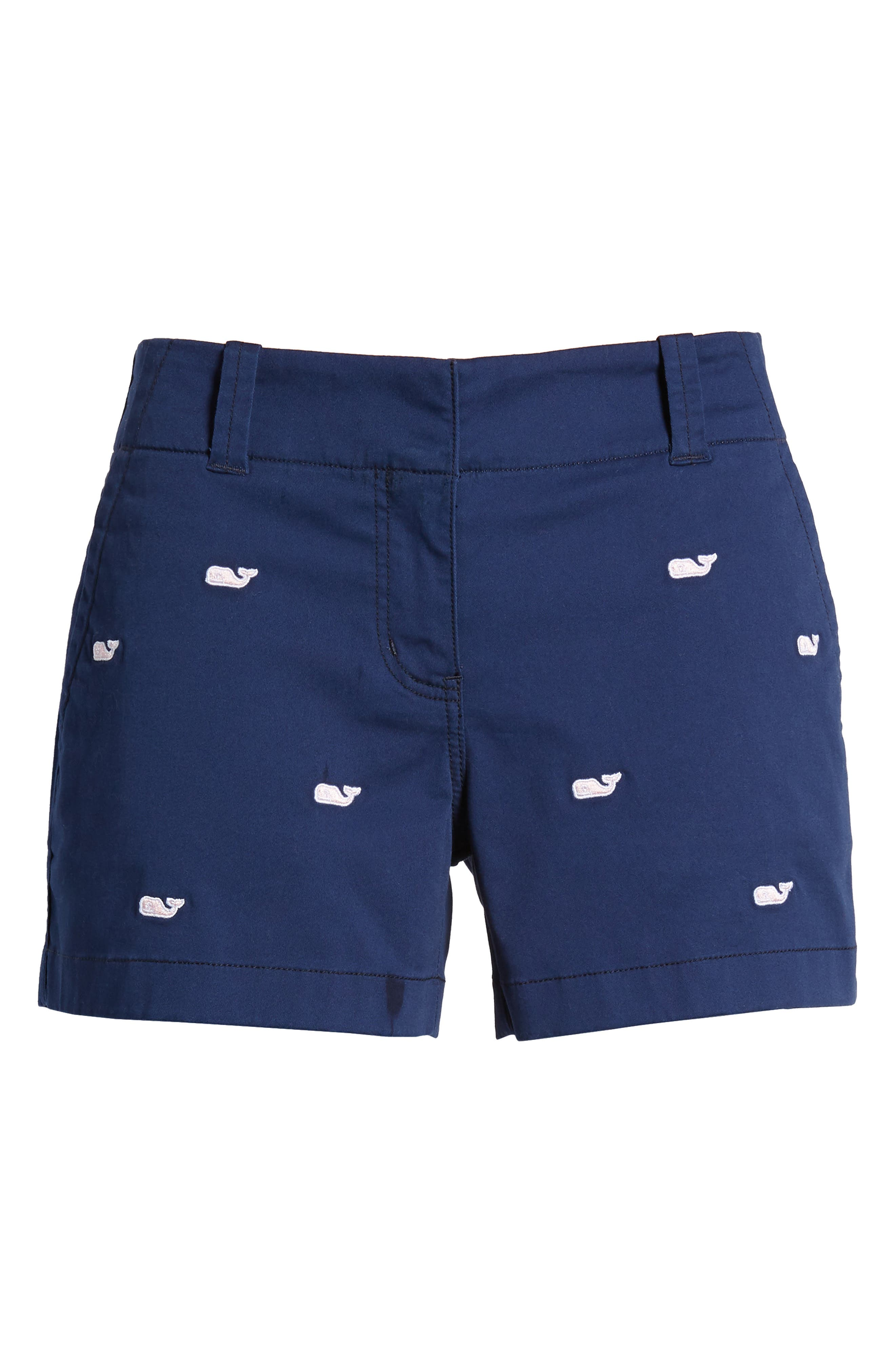 Whale Embroidered Chino Shorts,                             Alternate thumbnail 6, color,                             Deep Bay
