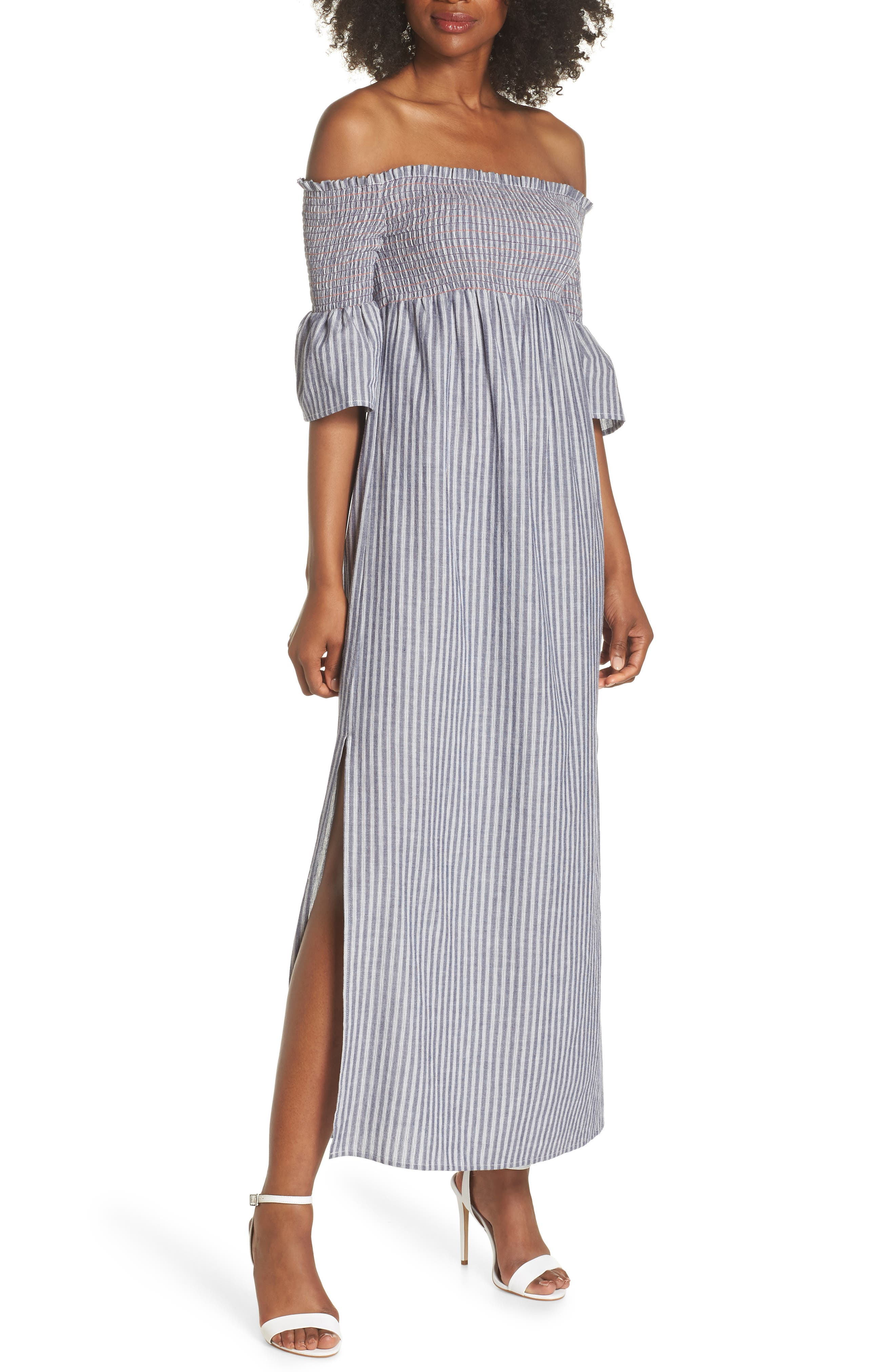 Carmel Smocked Off the Shoulder Maxi Dress,                             Main thumbnail 1, color,                             Chambray