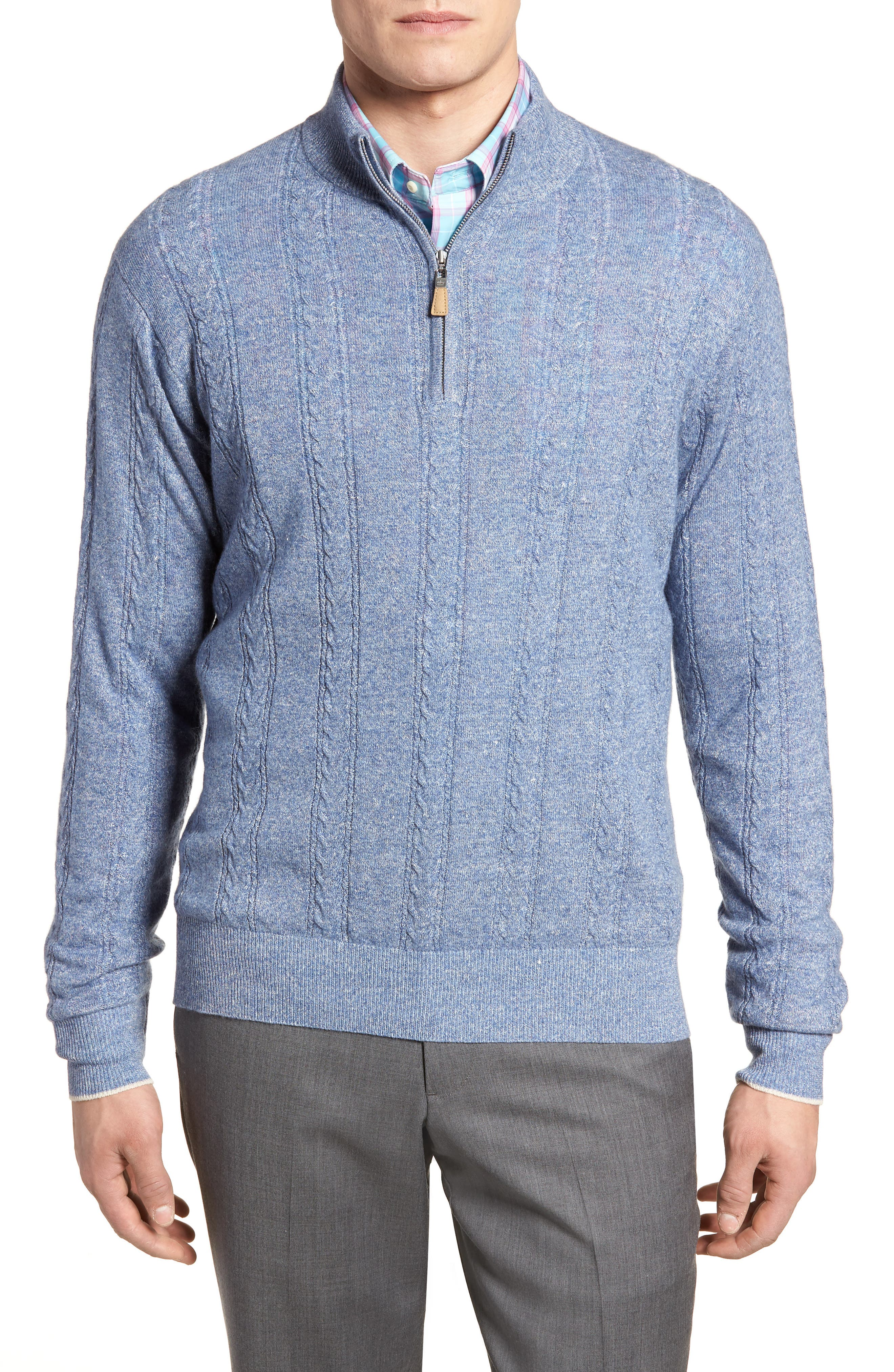 Crown Fleece Cashmere & Linen Quarter Zip Sweater,                         Main,                         color, Atlas Blue