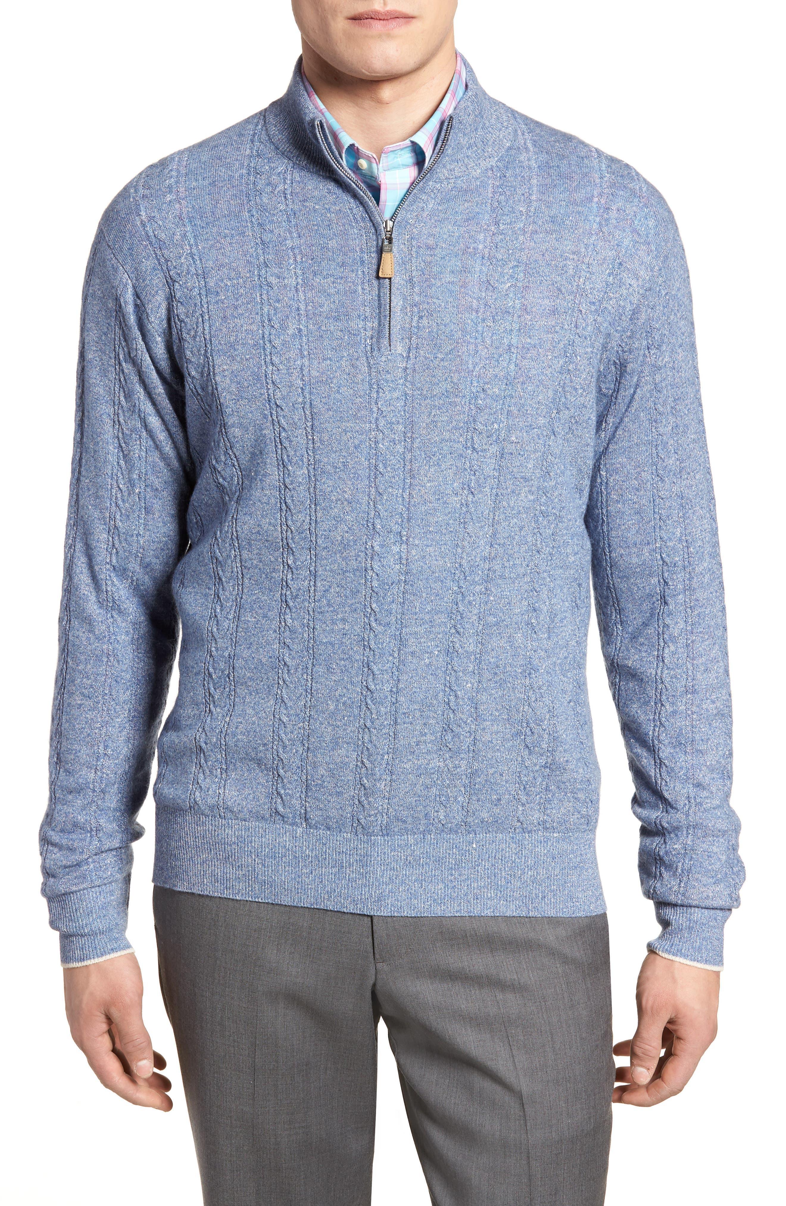 Crown Fleece Cashmere & Linen Quarter Zip Sweater,                         Main,                         color, Atlas Blue