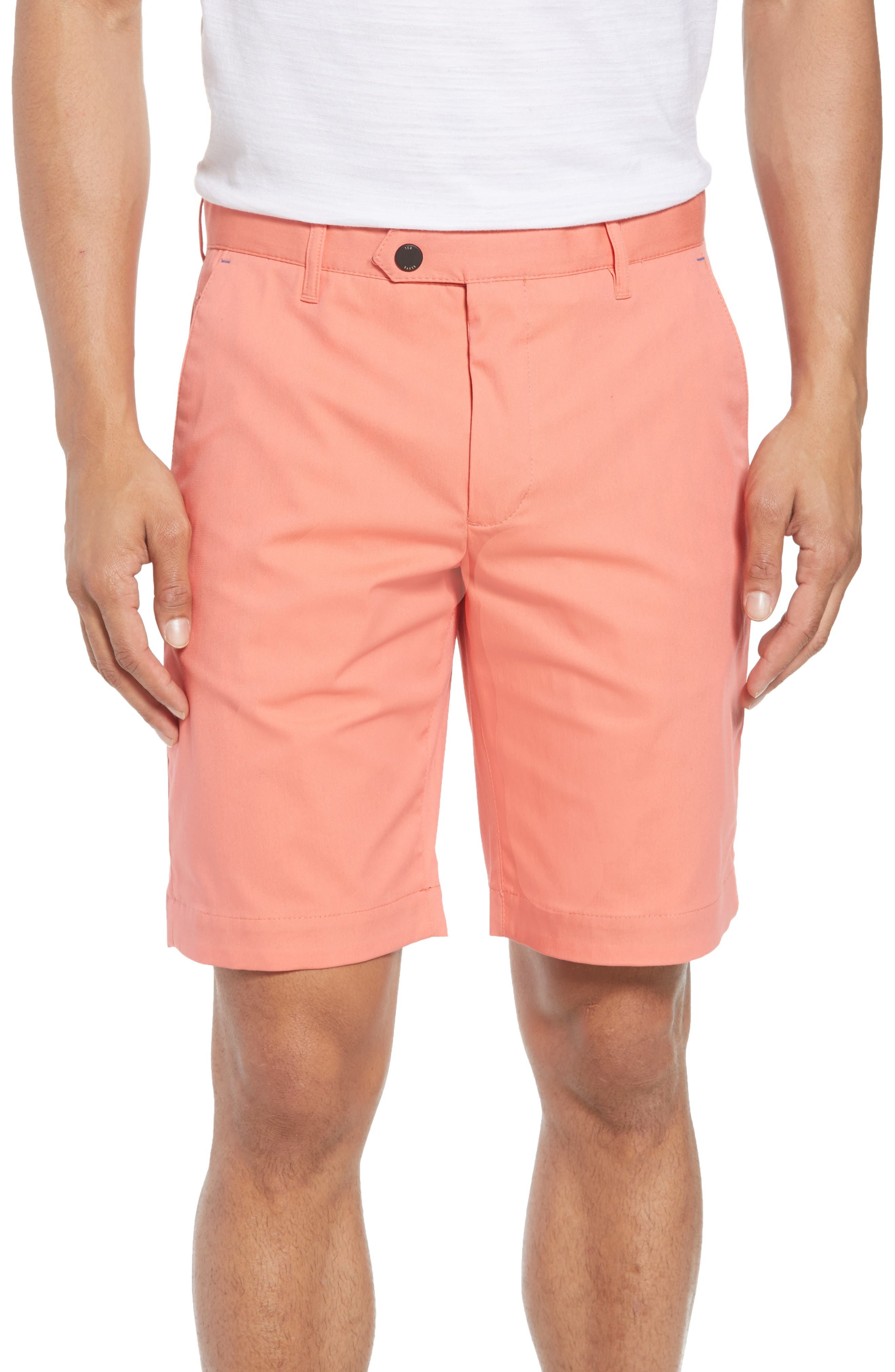 Twopar Flat Front Shorts,                             Main thumbnail 1, color,                             Coral