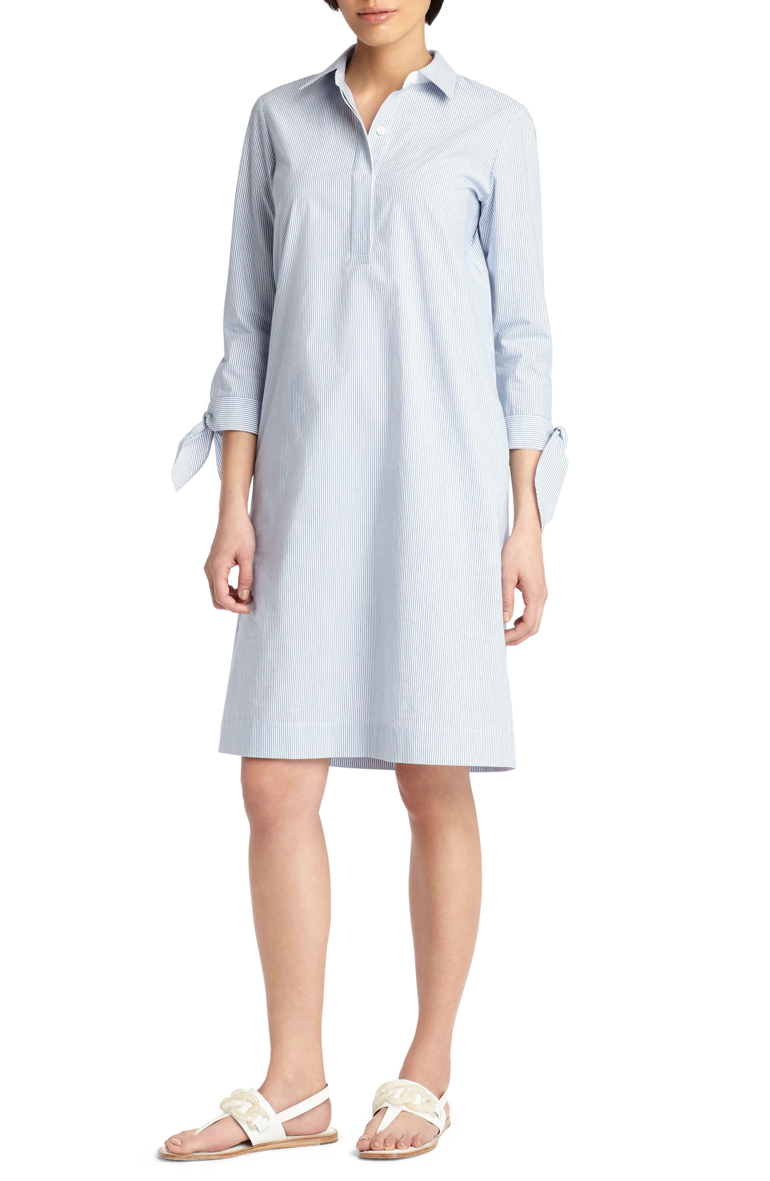 Talia Tie Cuff Shirtdress,                             Main thumbnail 1, color,                             Placid Blue Multi