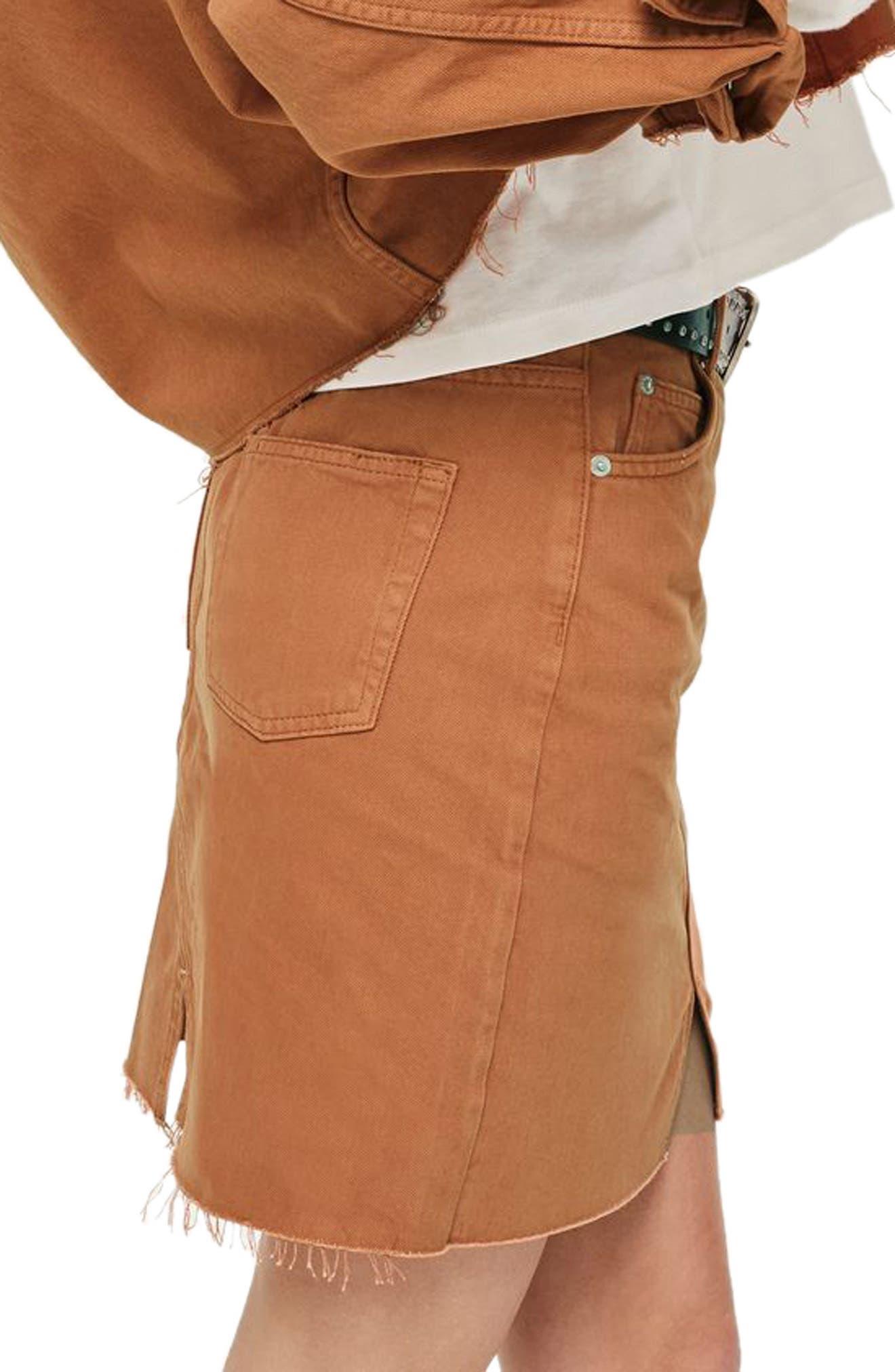 Mini Denim Skirt,                             Alternate thumbnail 3, color,                             Rust