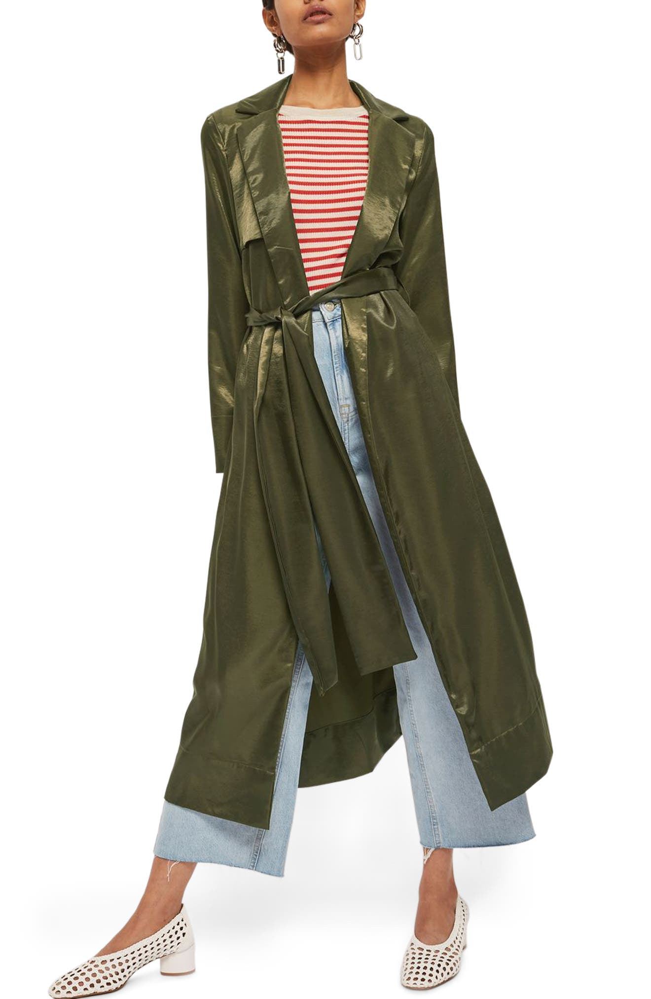 Belted Satin Duster Coat,                         Main,                         color, Olive